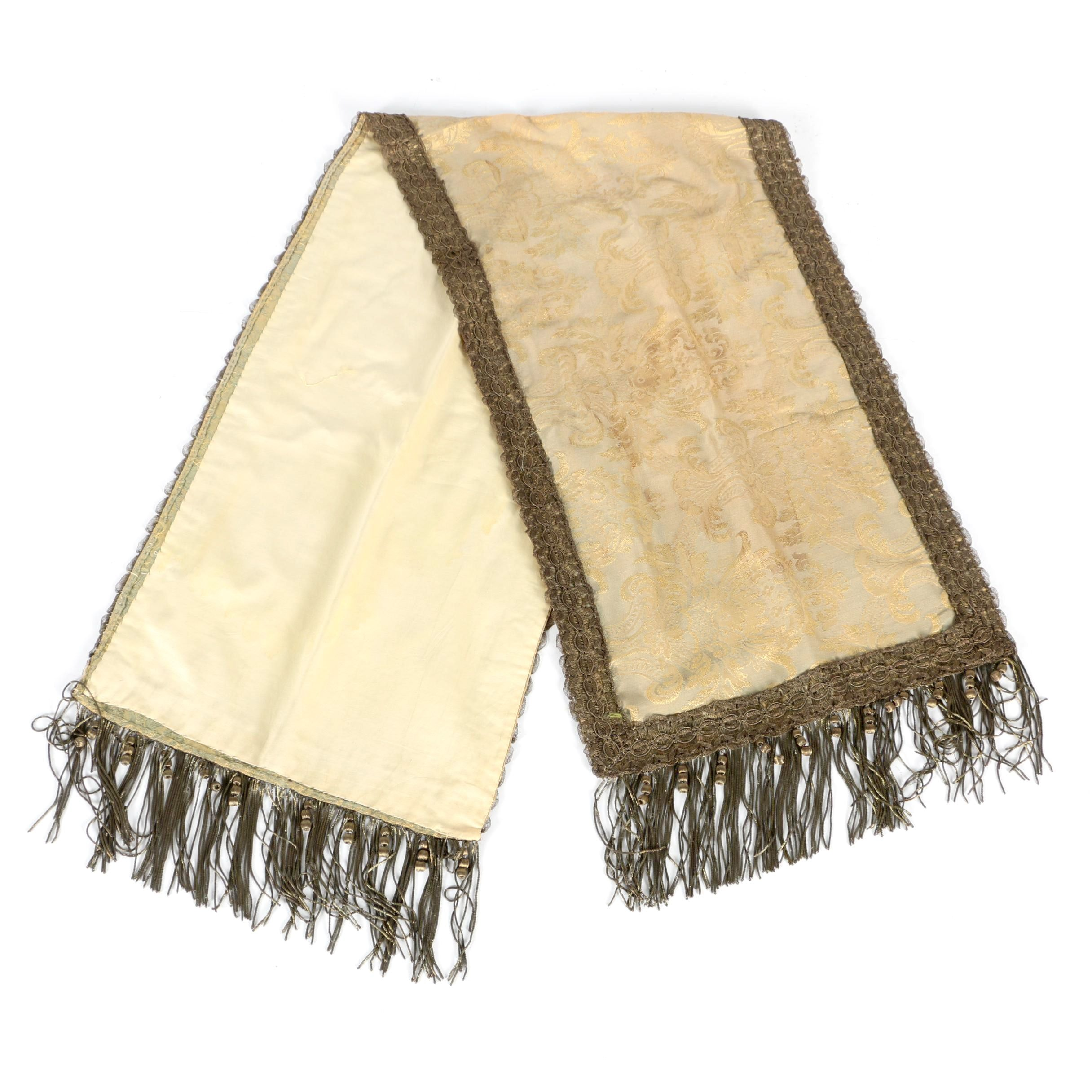 Metallic Damask Table Runner With Trim and Fringe