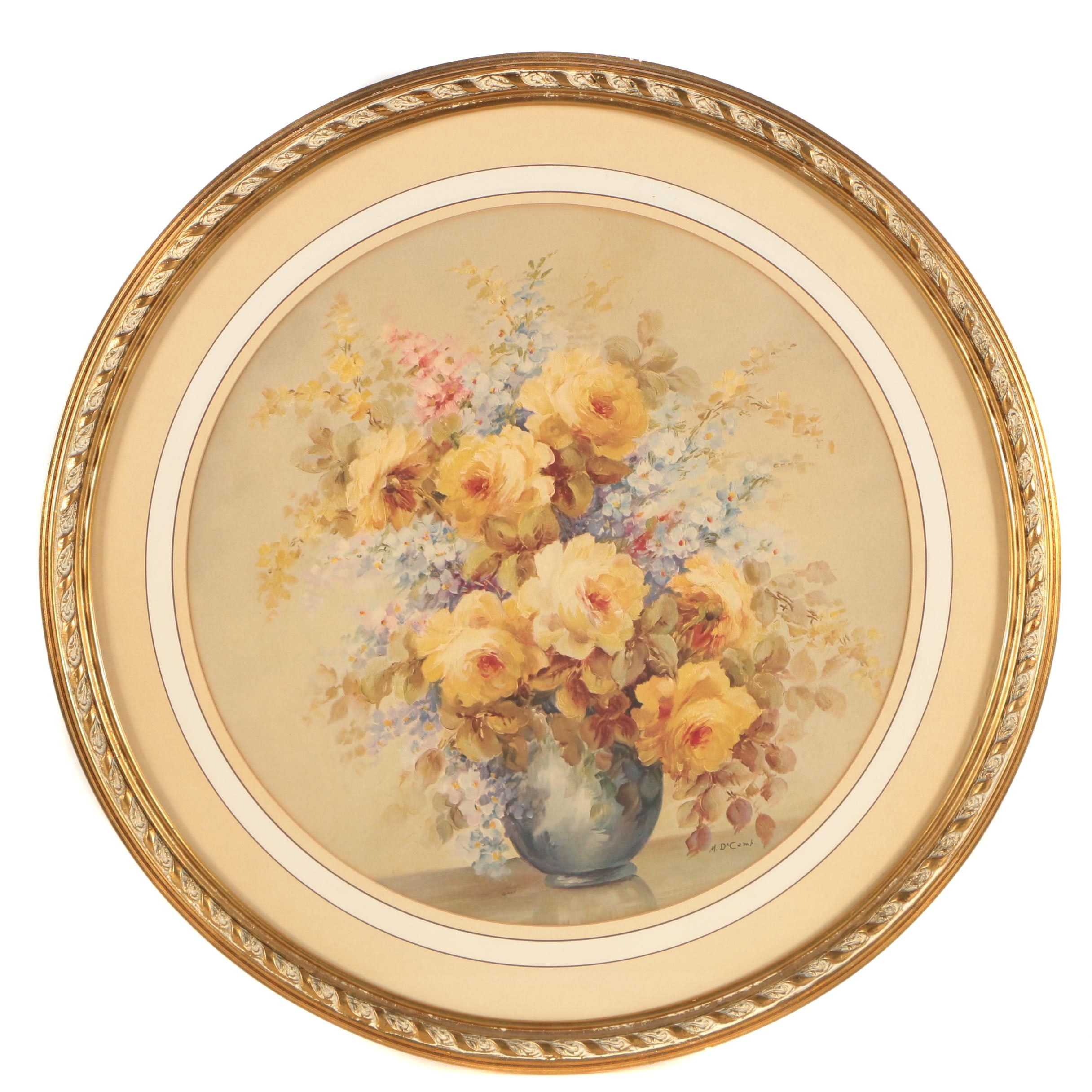 Offset Lithographic Floral Print After M. DeCamp