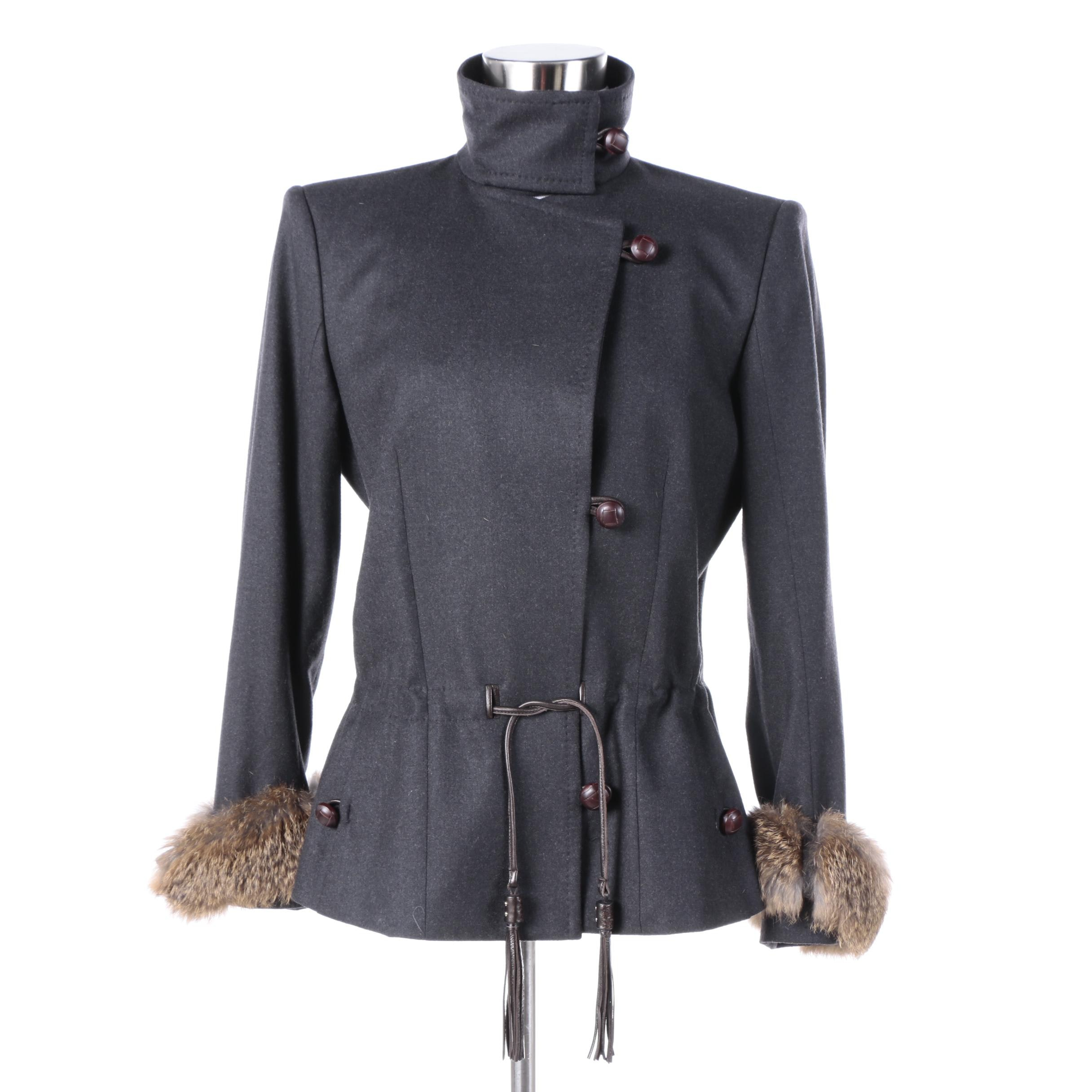 Women's Yves Saint Laurent Wool Blend Jacket with Rabbit Fur Cuffs