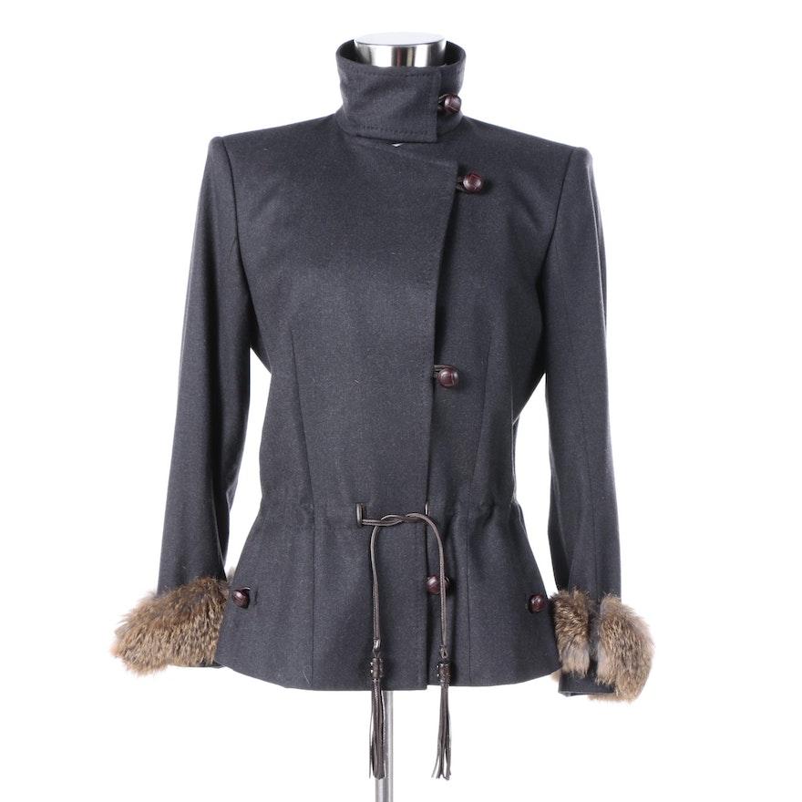 ee08d69786e Women's Yves Saint Laurent Wool Blend Jacket with Rabbit Fur Cuffs ...