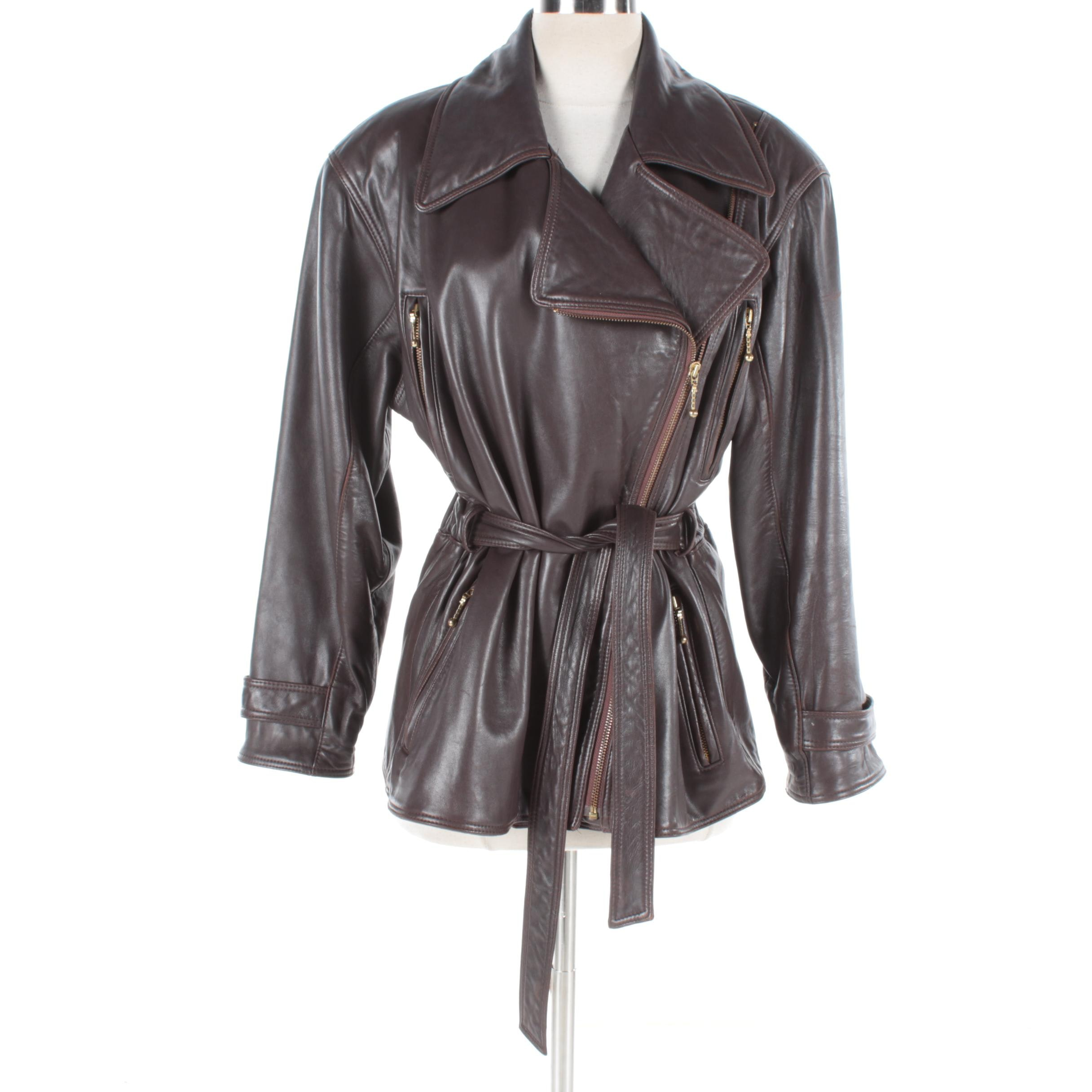 Women's Vintage Henri Bendel New York Brown Leather Jacket
