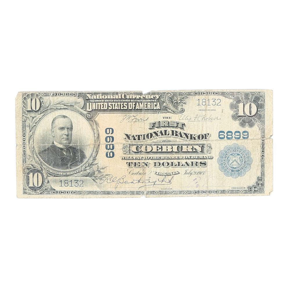 Series 1902 First National Bank of Coeburn, VA $10 Blue Seal National Bank Note