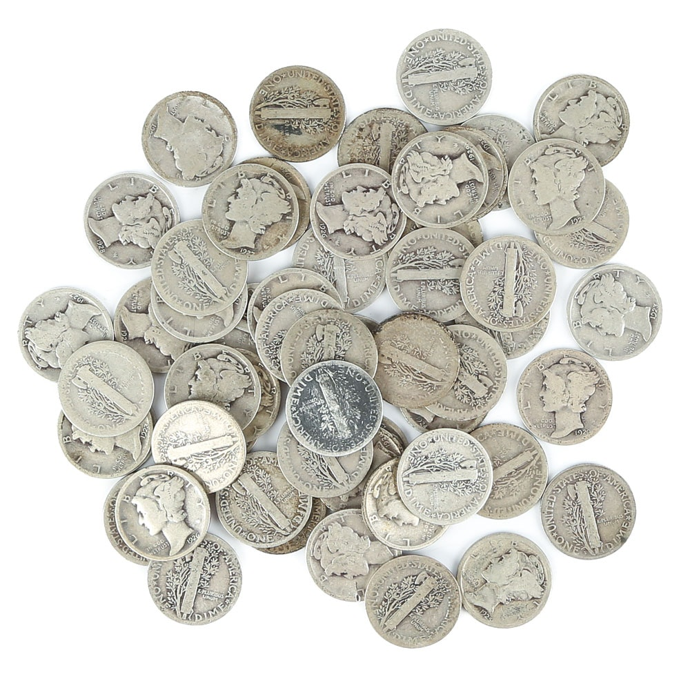 Fifty-Six Mercury Silver Dimes