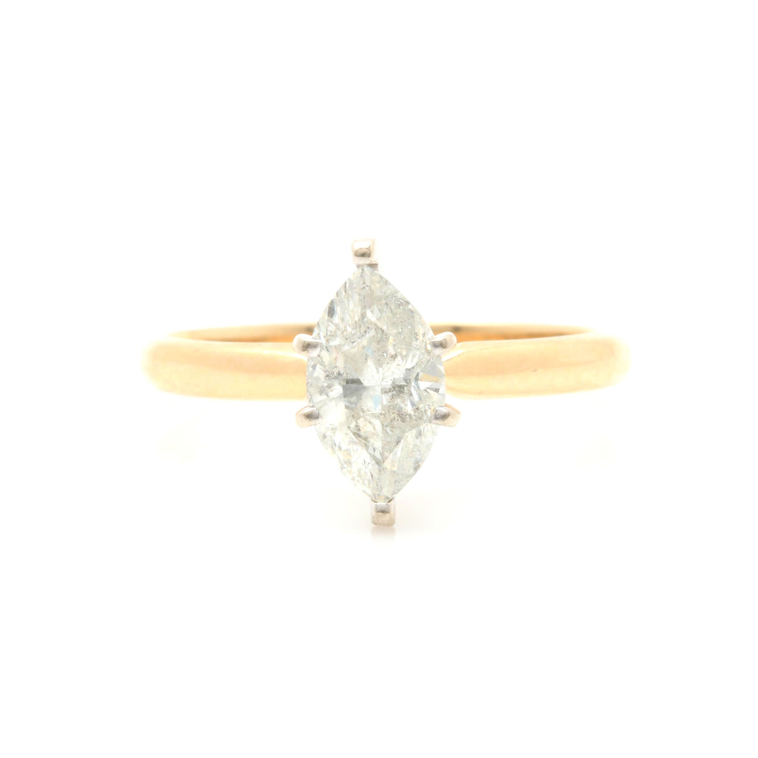 14K Yellow Gold 1.00 CT Diamond Solitaire Ring