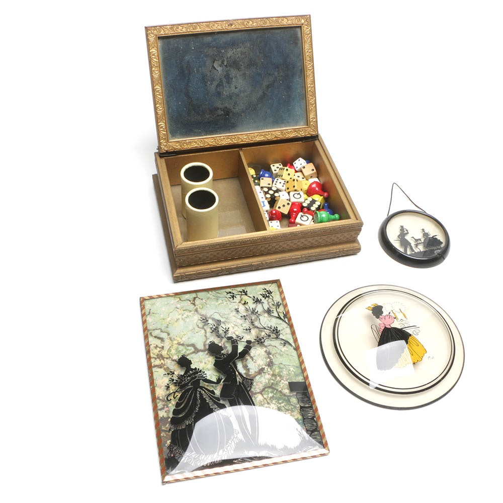 Vintage Hand Painted Reverse Glass Figurative Silhouettes and Wood Game Box