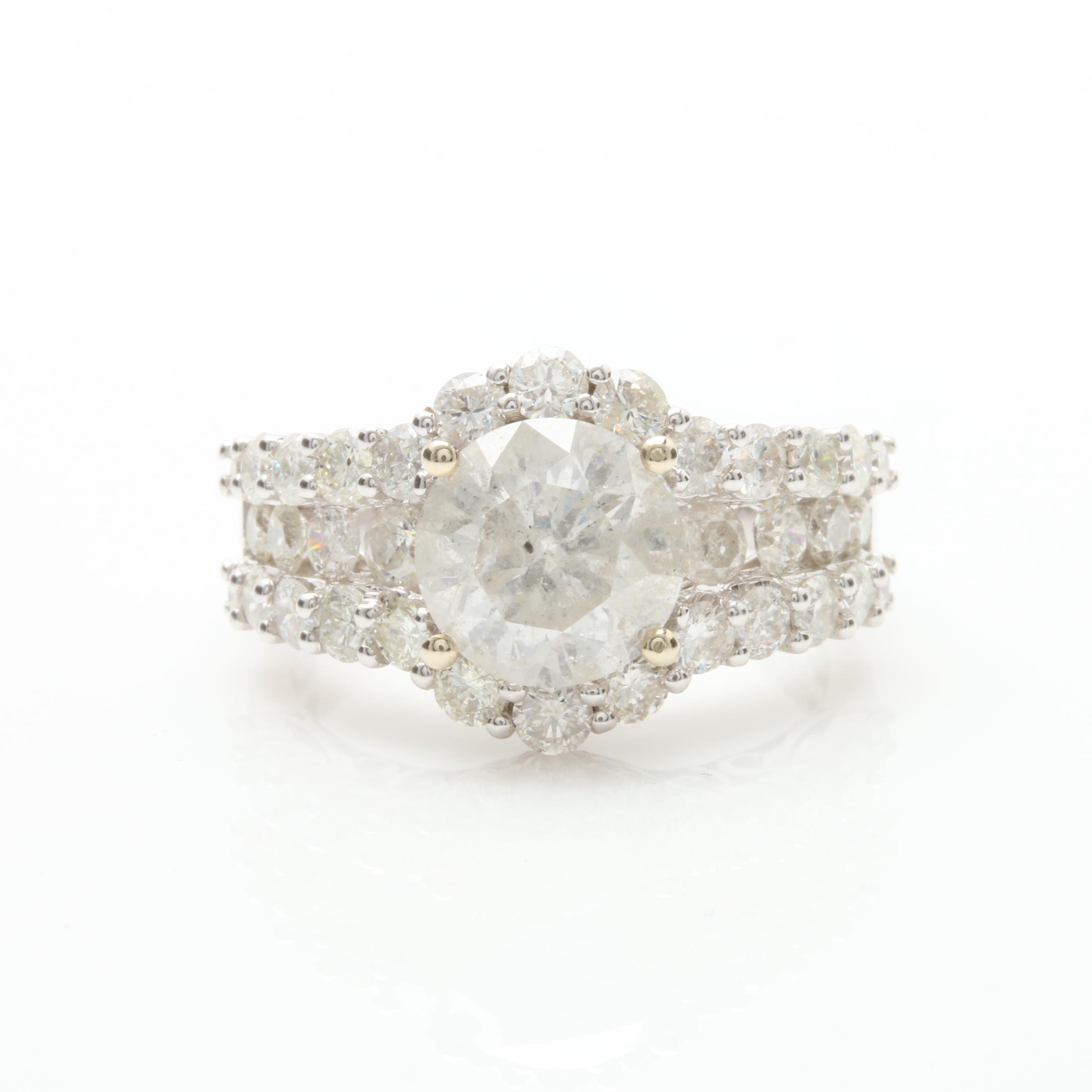 14K White Gold 3.97 CTW Diamond Ring