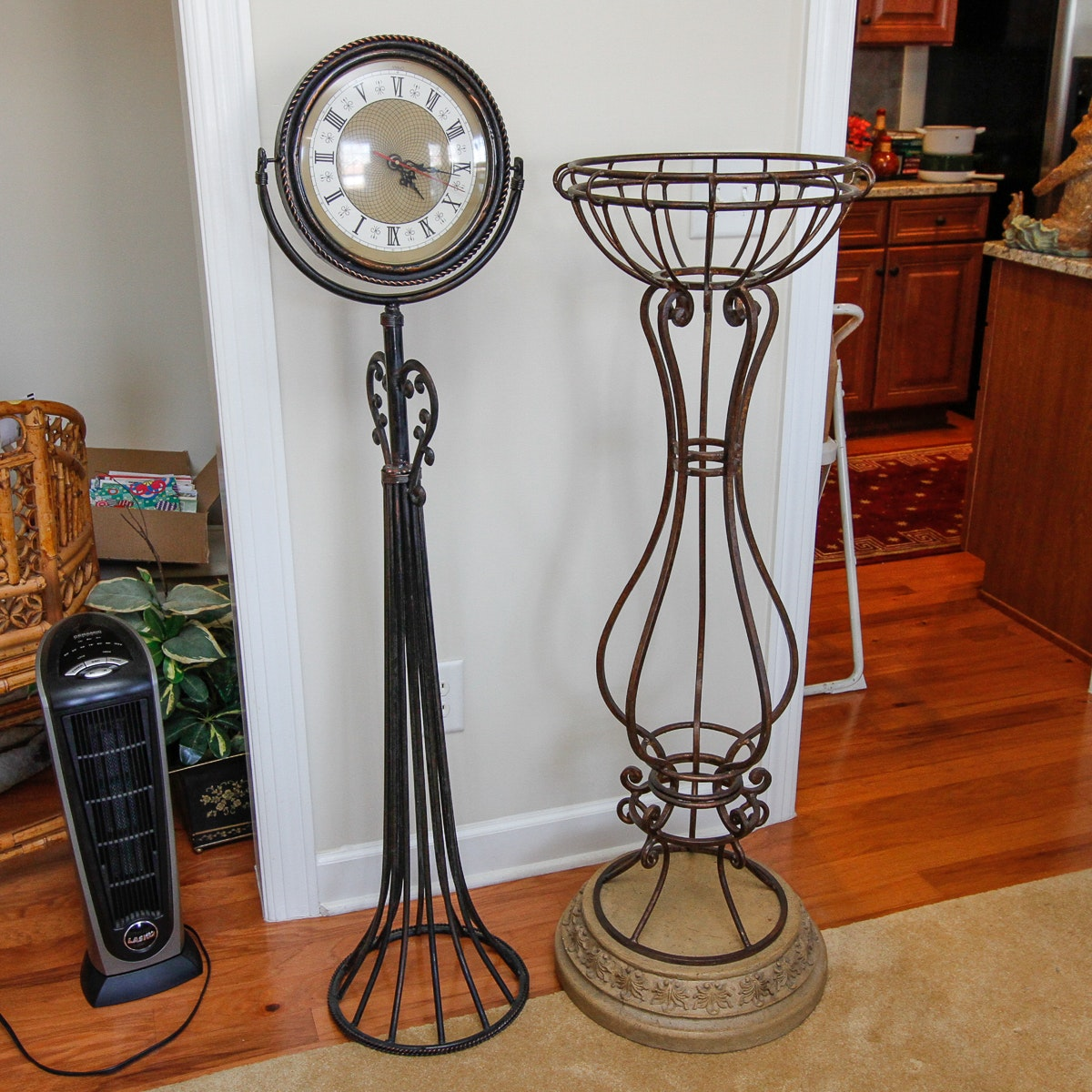 Wrought Metal Plant Stand and Floor Clock