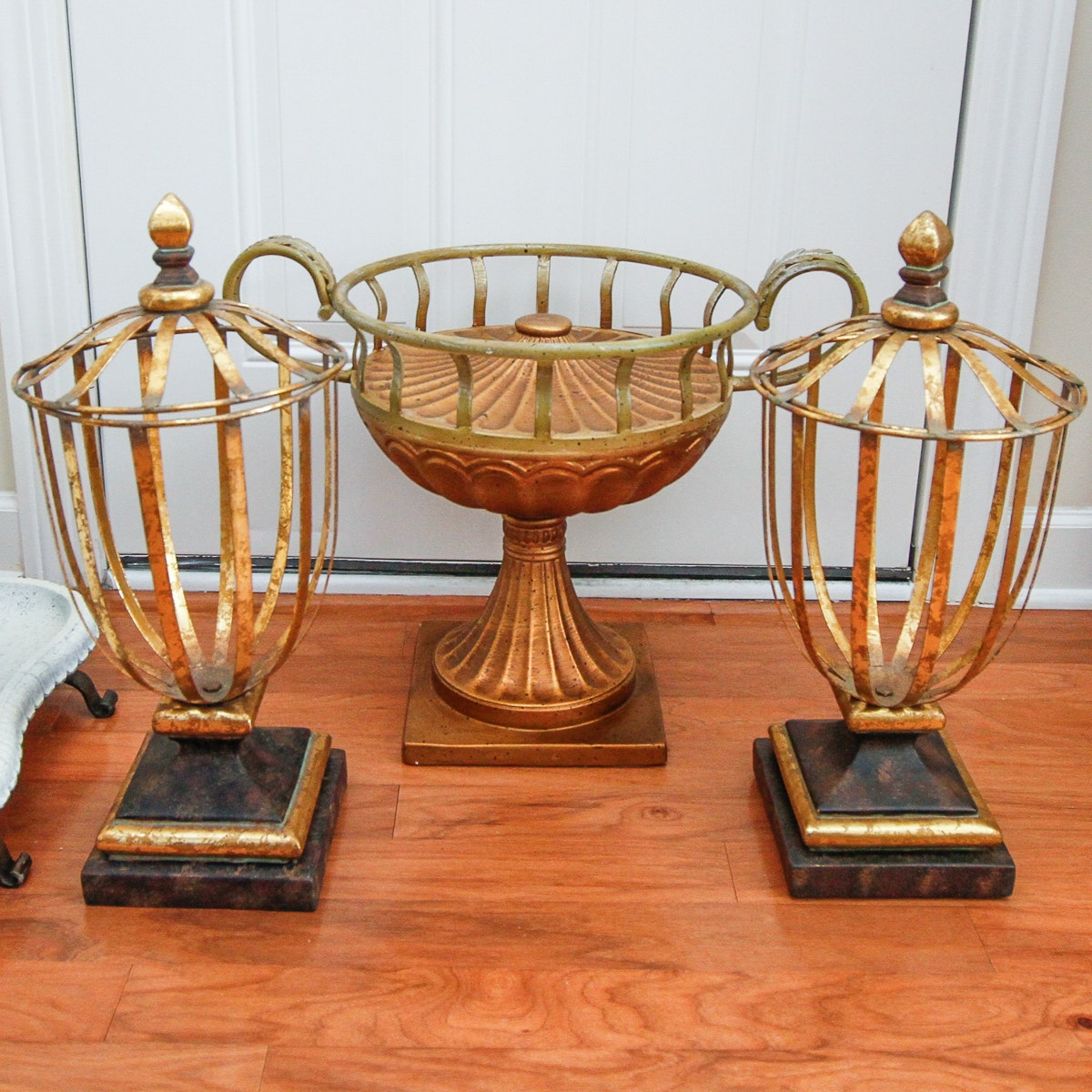 Decorative Open Frame Footed Urns