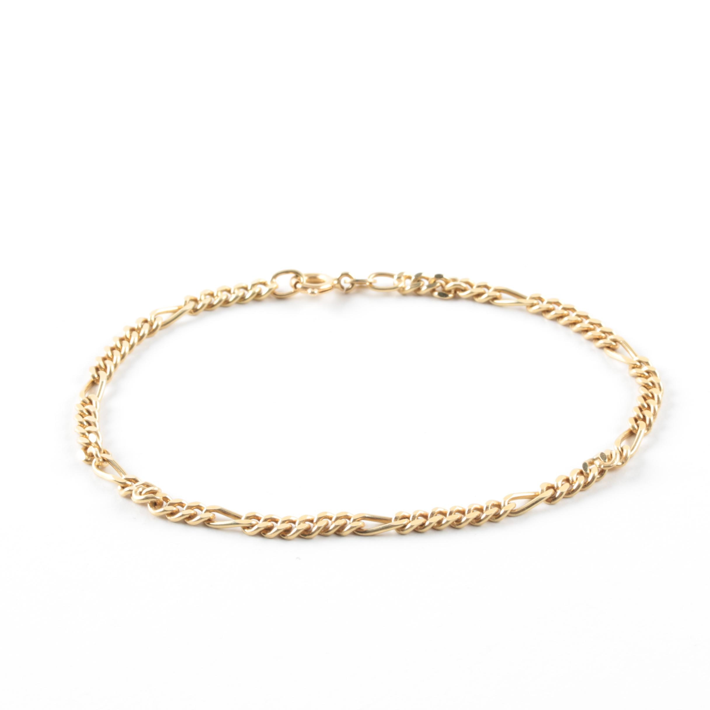 14K Yellow Gold Chain Bracelet