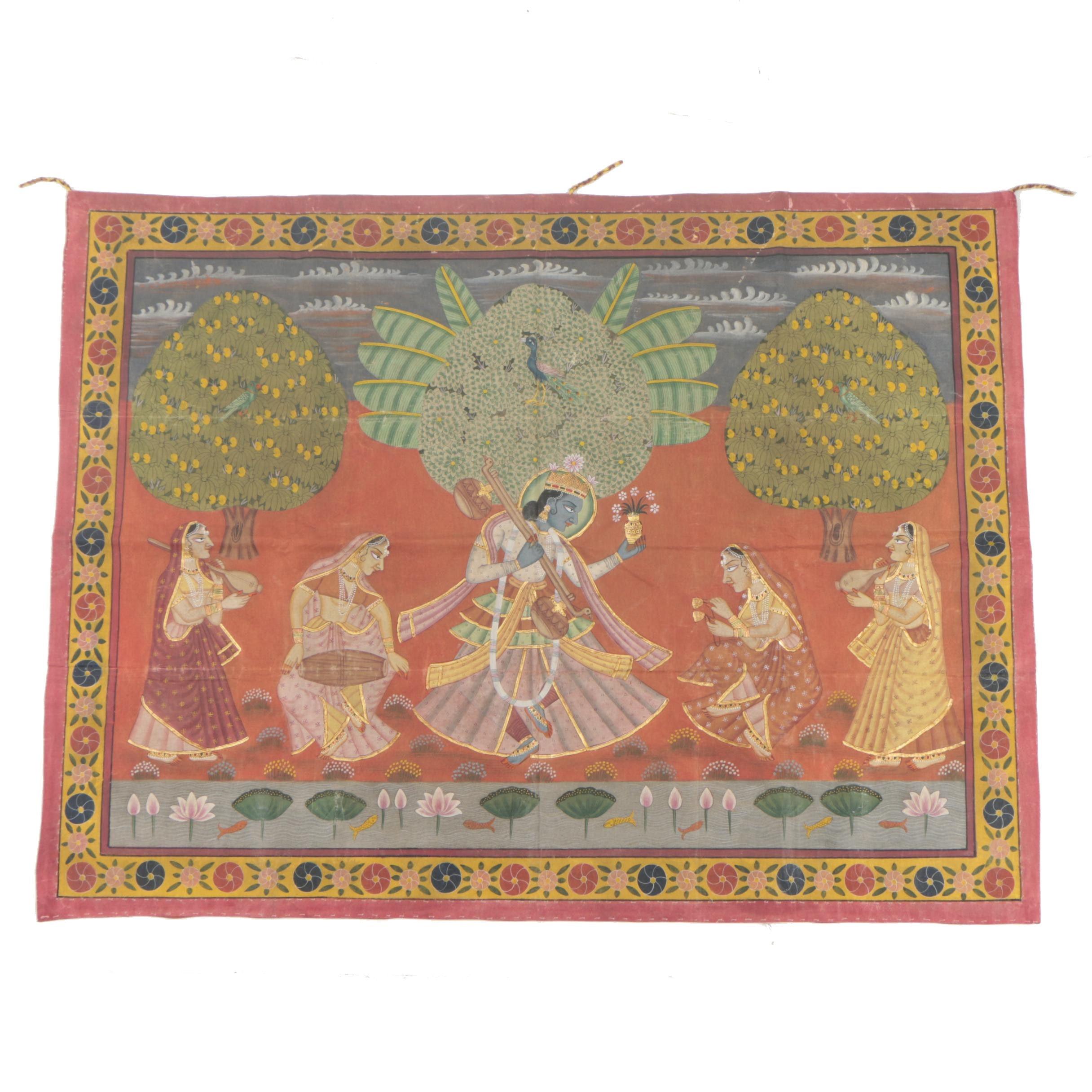 Indian Pichhwai Watercolor of Krishna and Female Musicians
