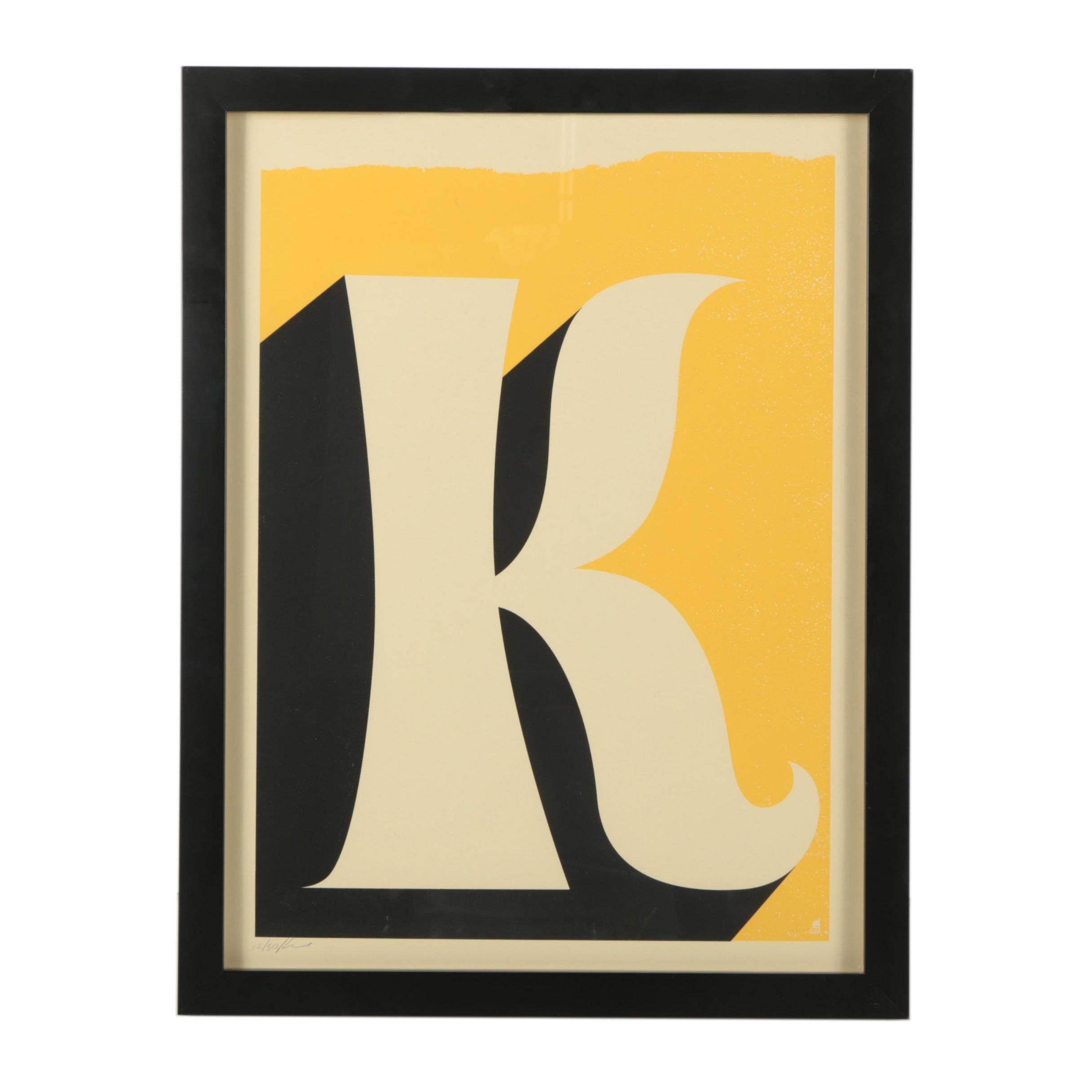 "Methane Studios Contemporary Serigraph ""Letter K"""