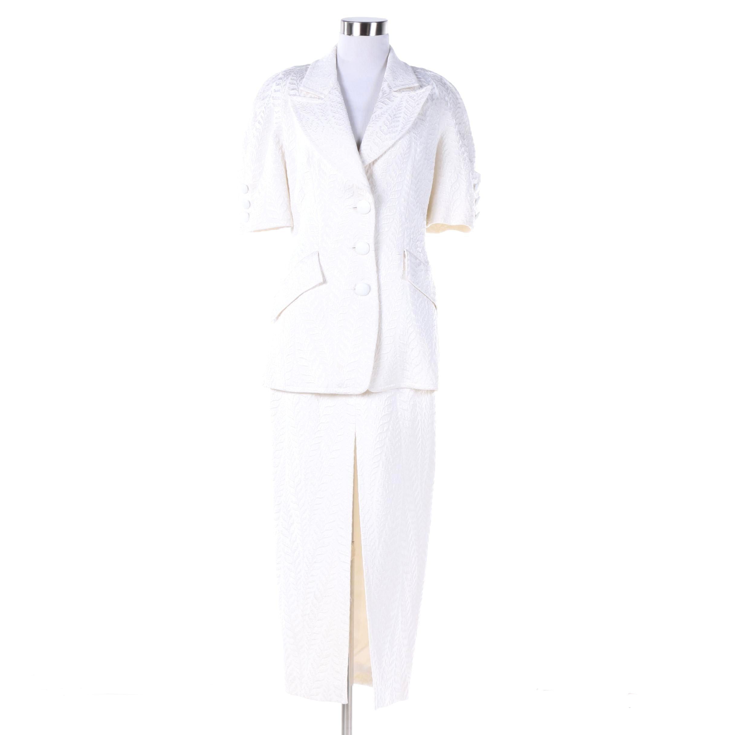 Badgley Mischka White Brocade Skirt Suit