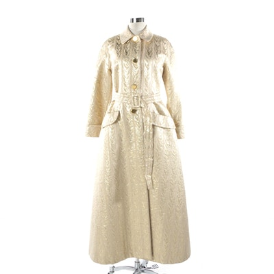 Prada Golden Silk Brocade Belted Coat from the 1992 Fall/Winter Collection