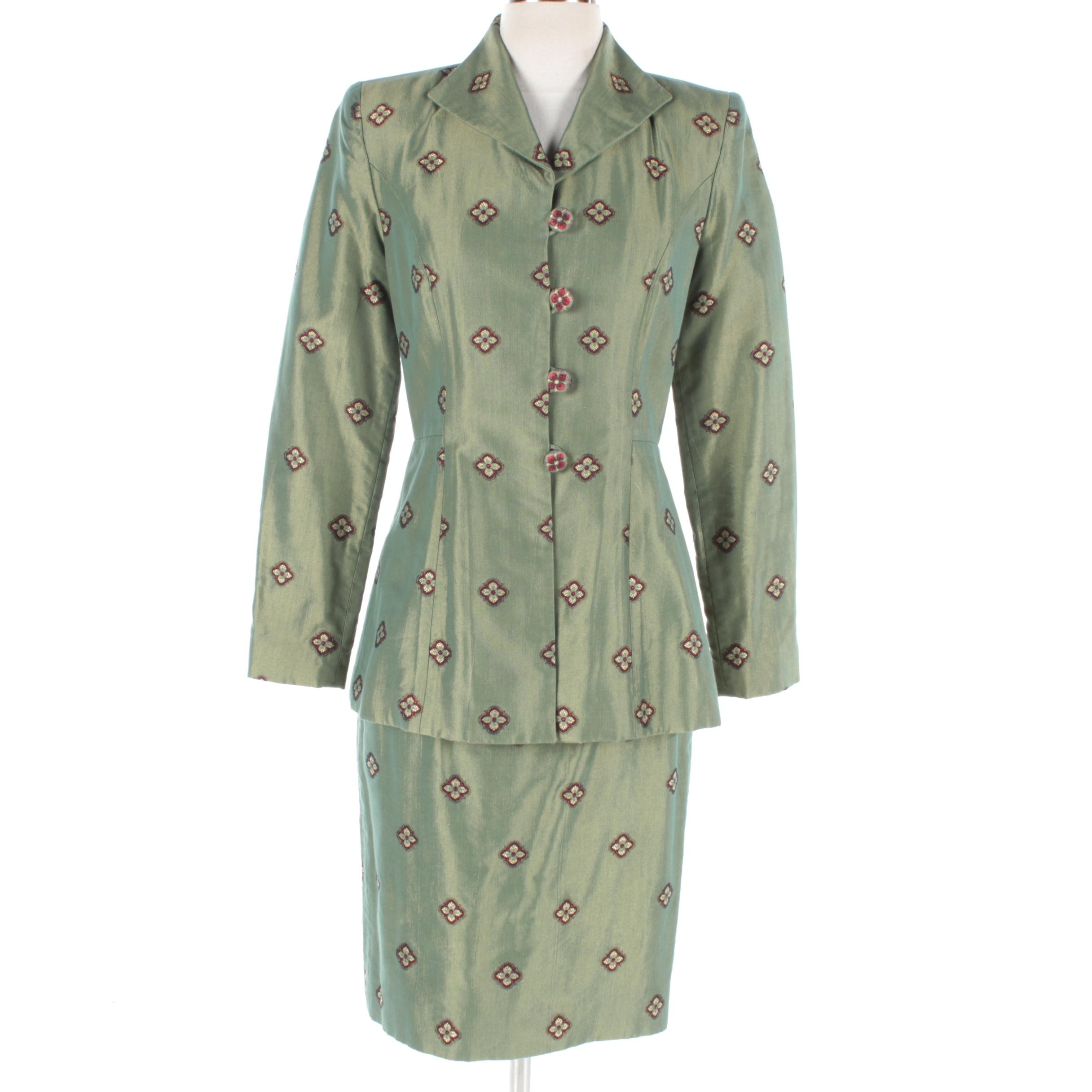 Pam McMahon Green Floral Skirt Suit