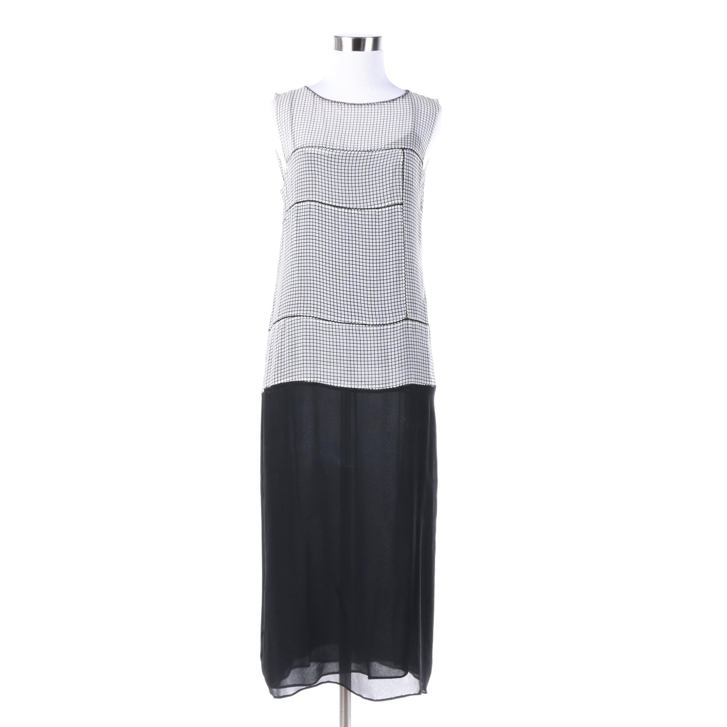 Alberta Ferretti Black and White Dress with Black Silk Slip