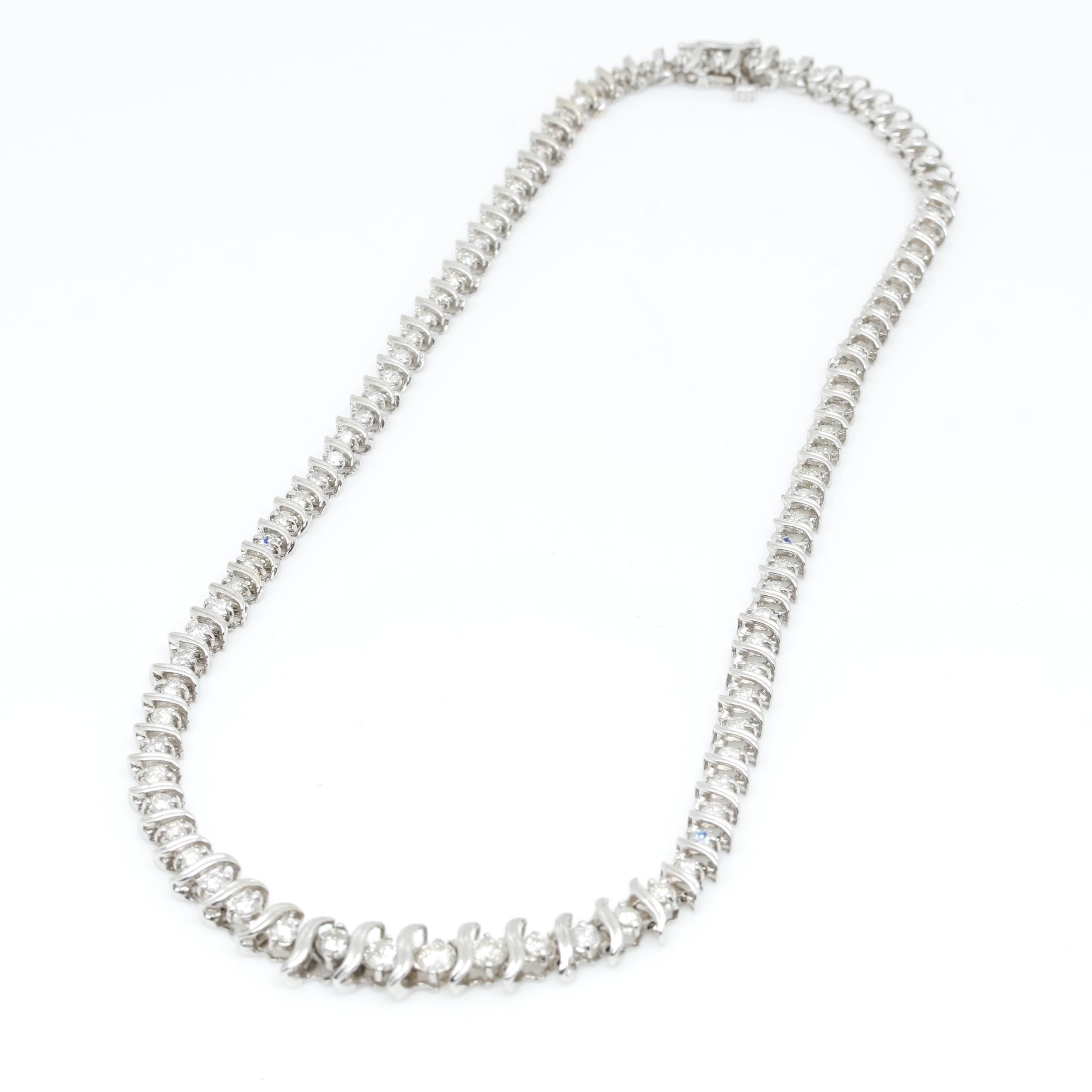 14K White Gold 3.47 CTW Diamond S-Link Graduating Necklace
