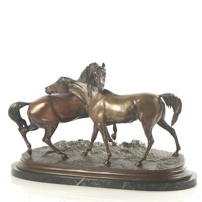 Bronze Horse Sculpture After Pierre-Jules Mêne
