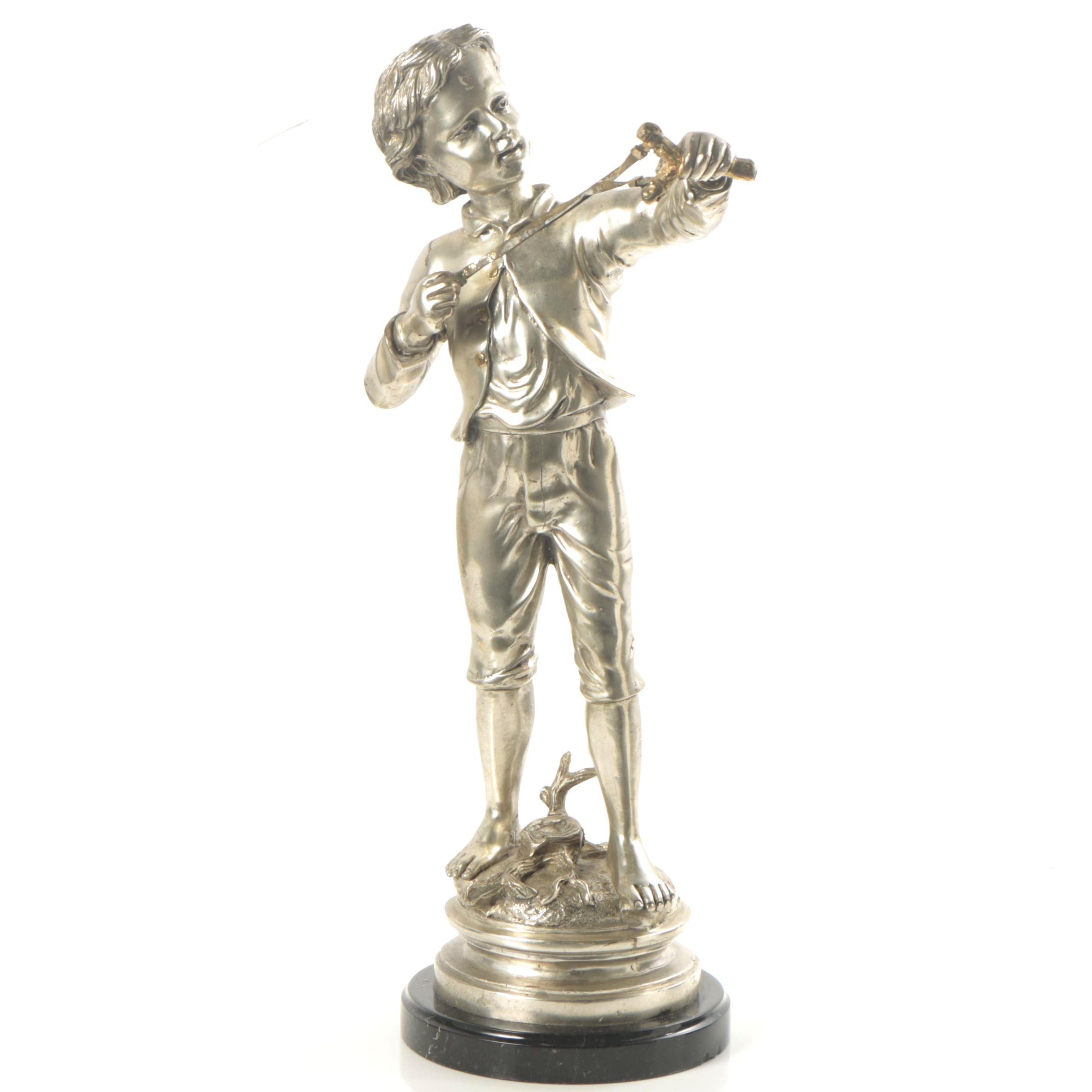 Cast Brass Sculpture of Boy with Slingshot