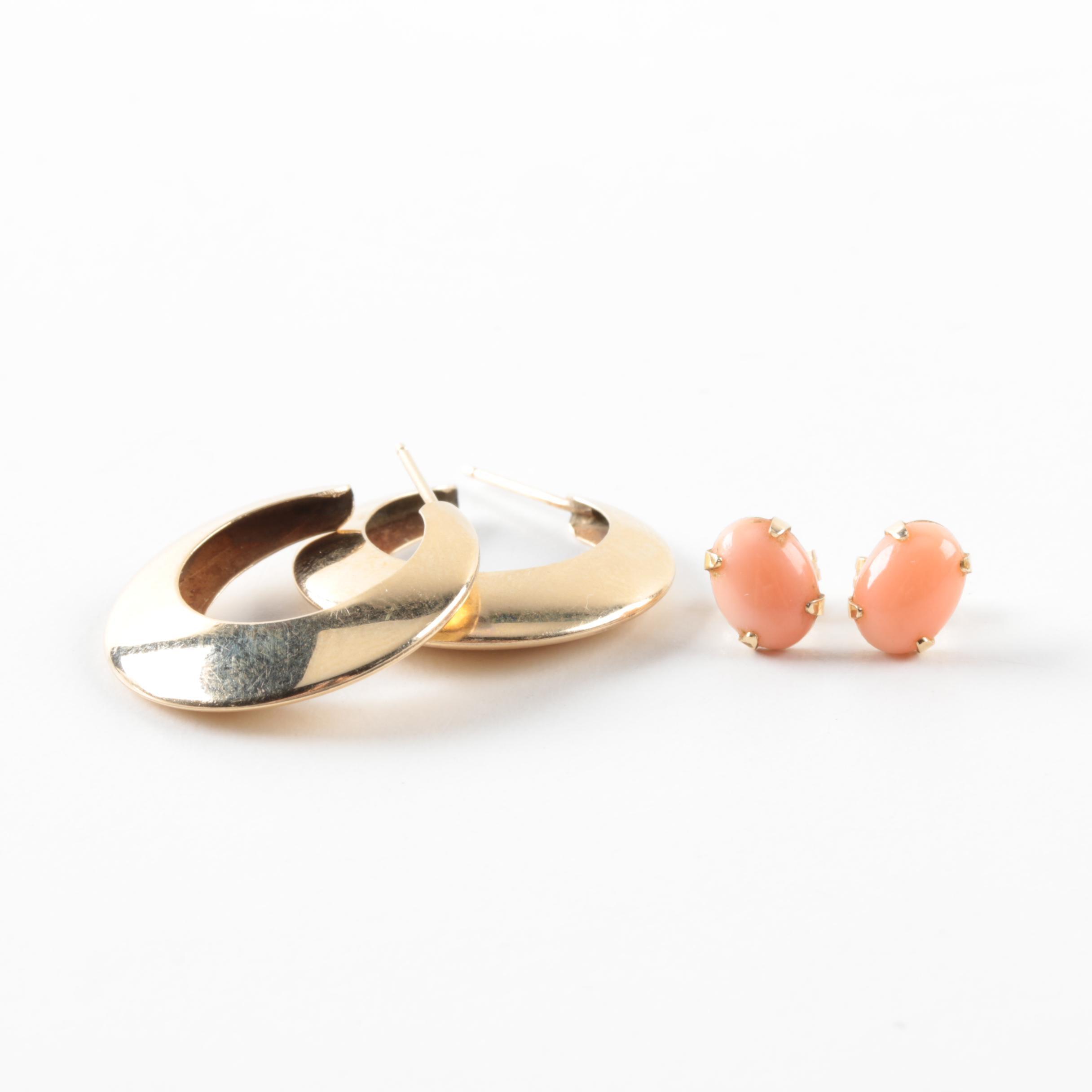 14K Yellow Gold Hoop Earrings and 14K Coral Stud Earrings