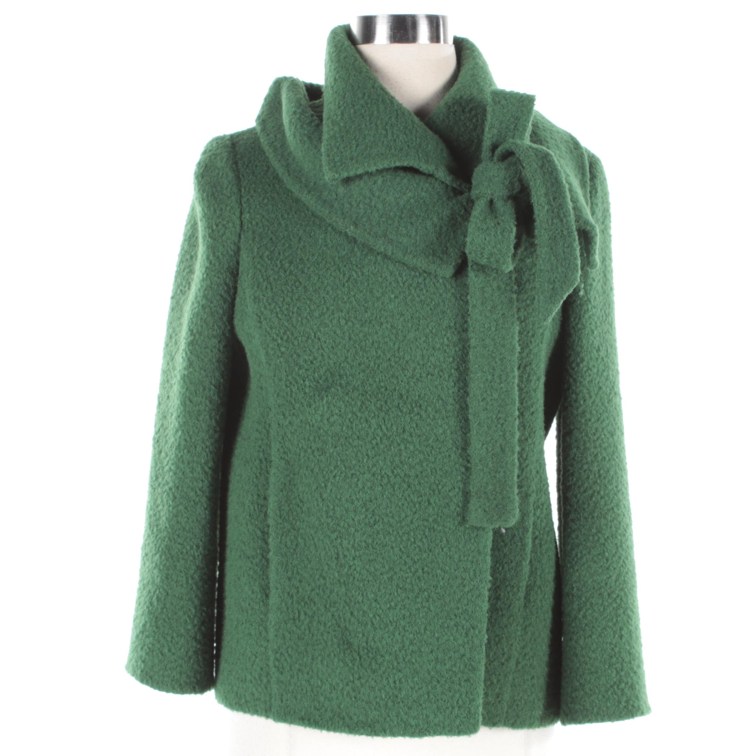 Oscar de la Renta Green Wool Coat