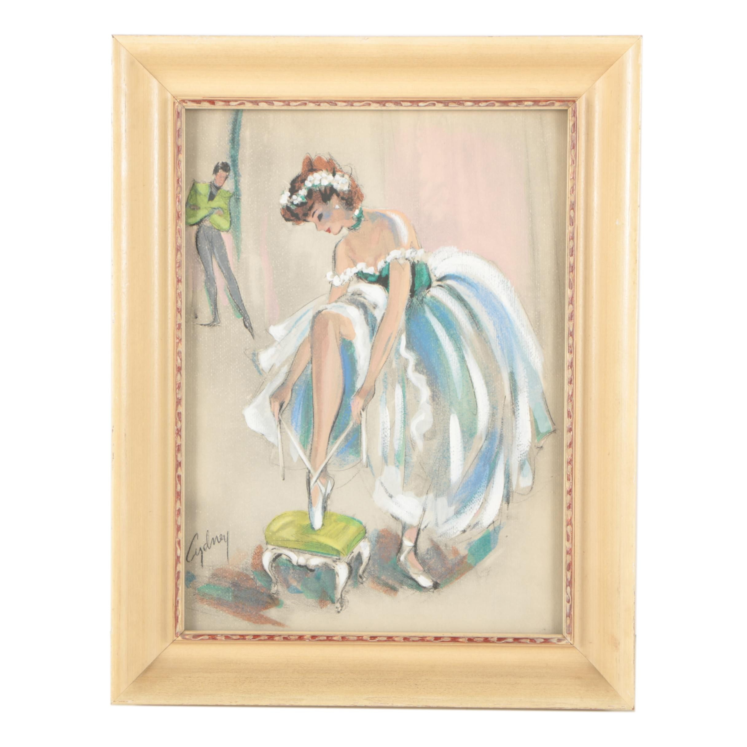 Cydney Grossman Mid Century Gouache Painting of a Ballerina Tying Her Shoe