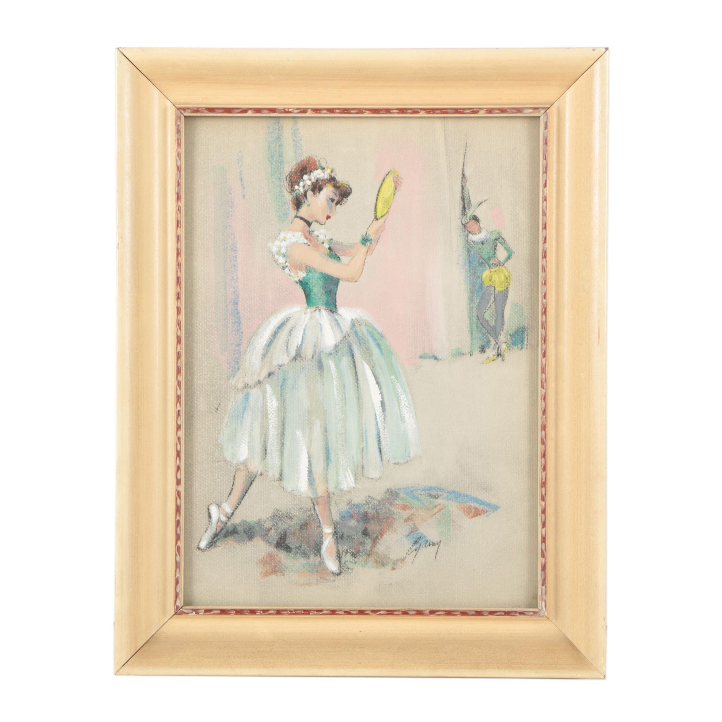 Cydney Grossman Mid Century Gouache Painting of Ballerina