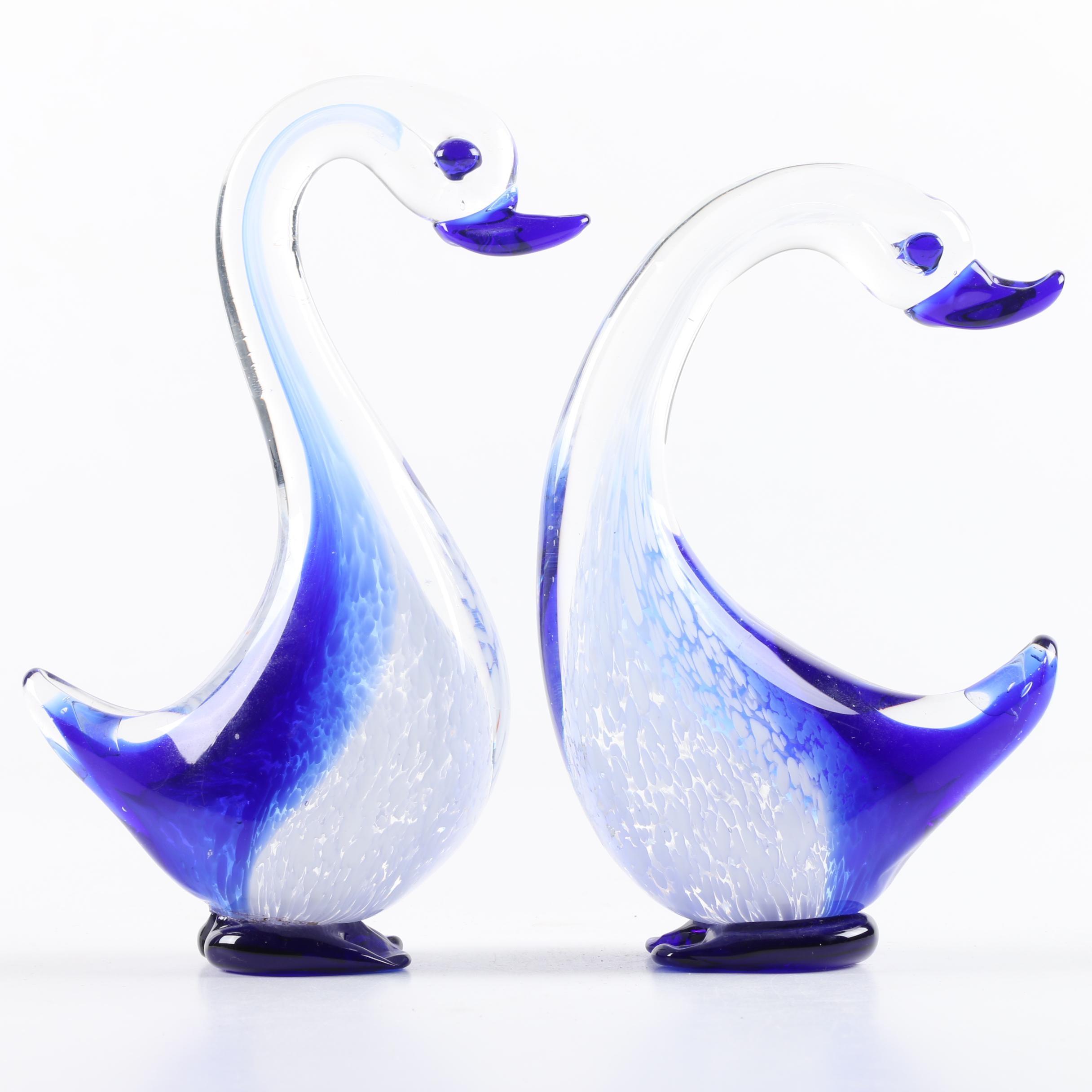 Art Glass Water Fowl Sculptures
