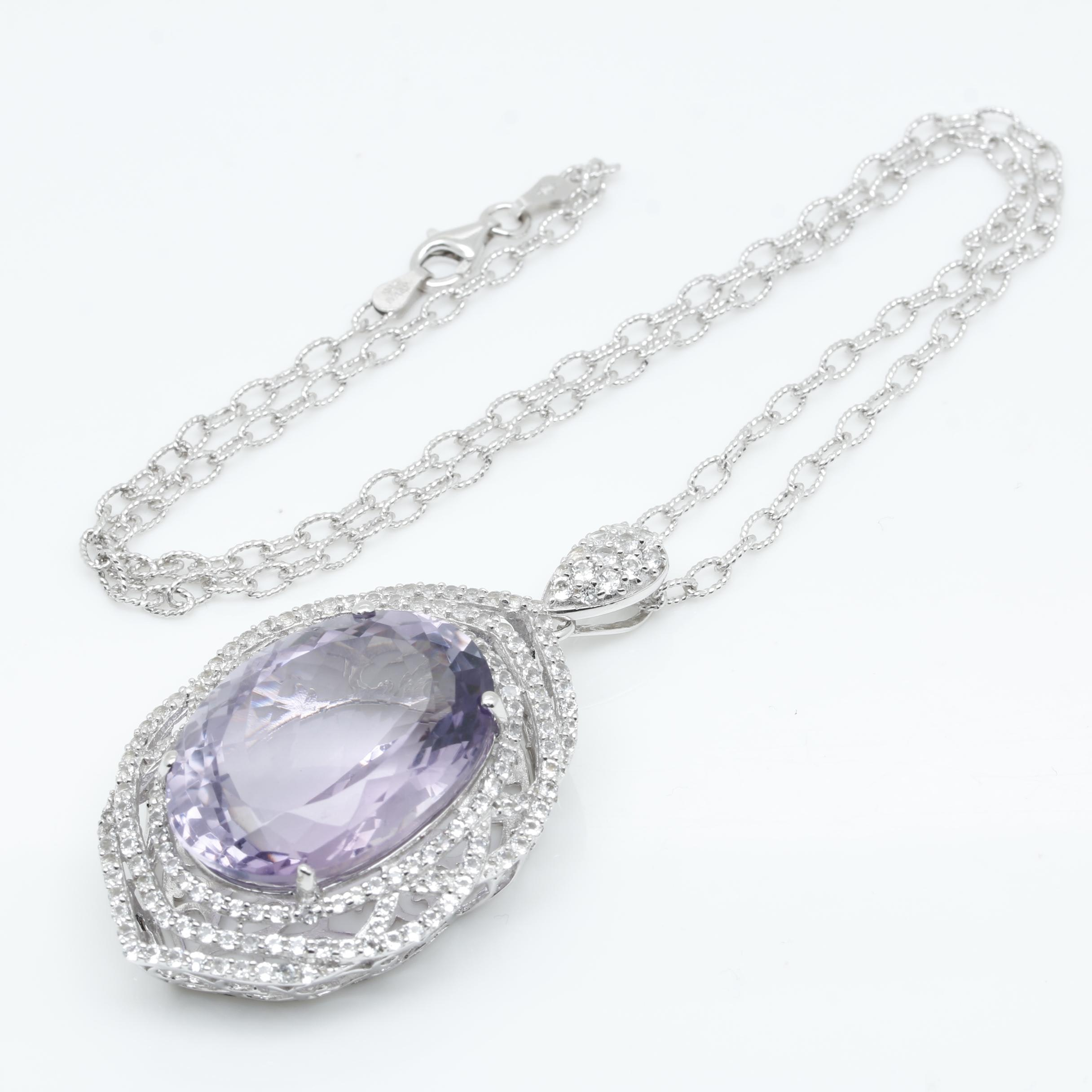Sterling Silver 41.18 CT Amethyst and White Topaz Pendant Necklace
