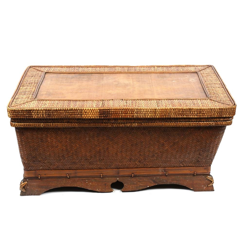 Large Rattan Covered Chest