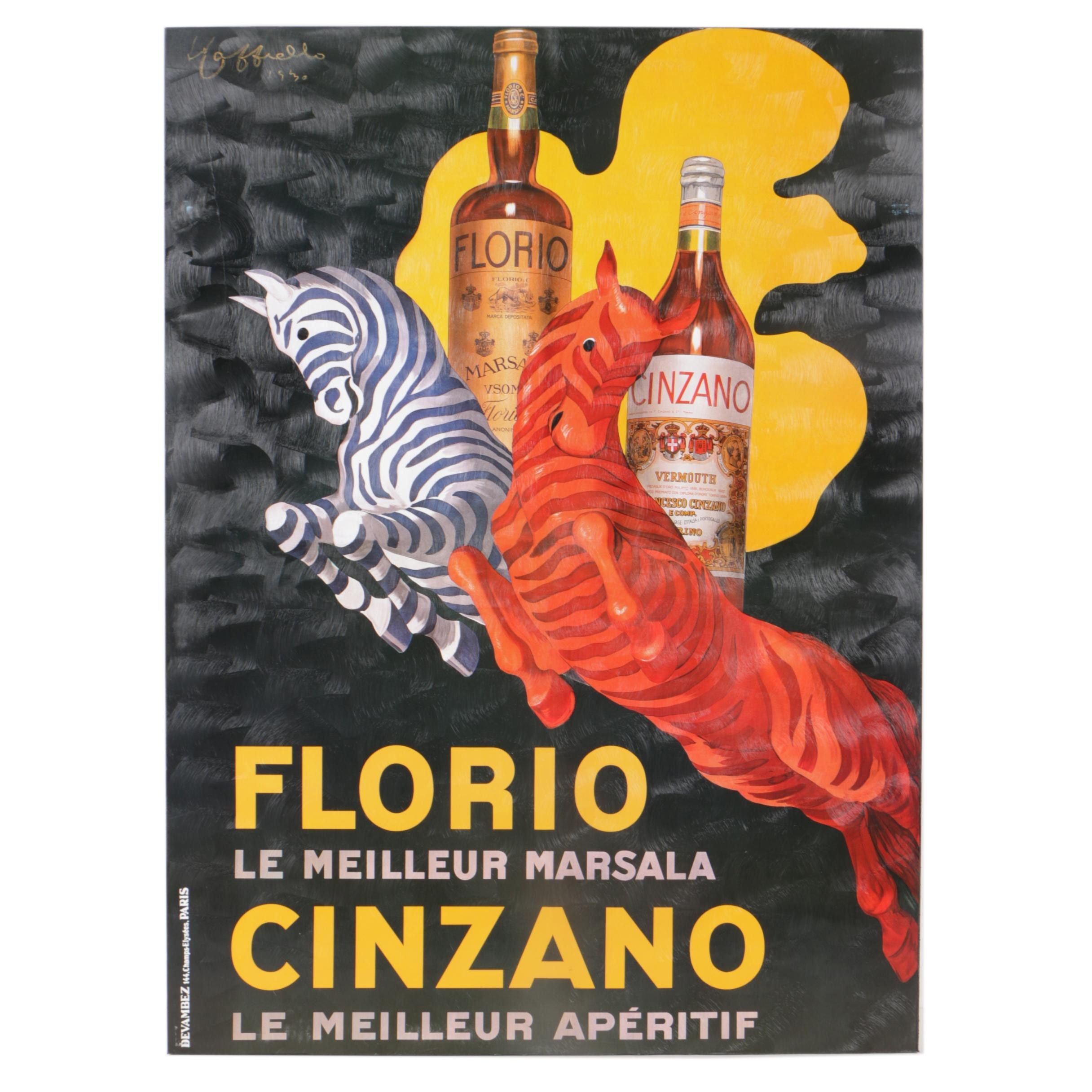 Offset Lithograph After Leonetto Cappiello 1930s Poster for Florio and Cinzano