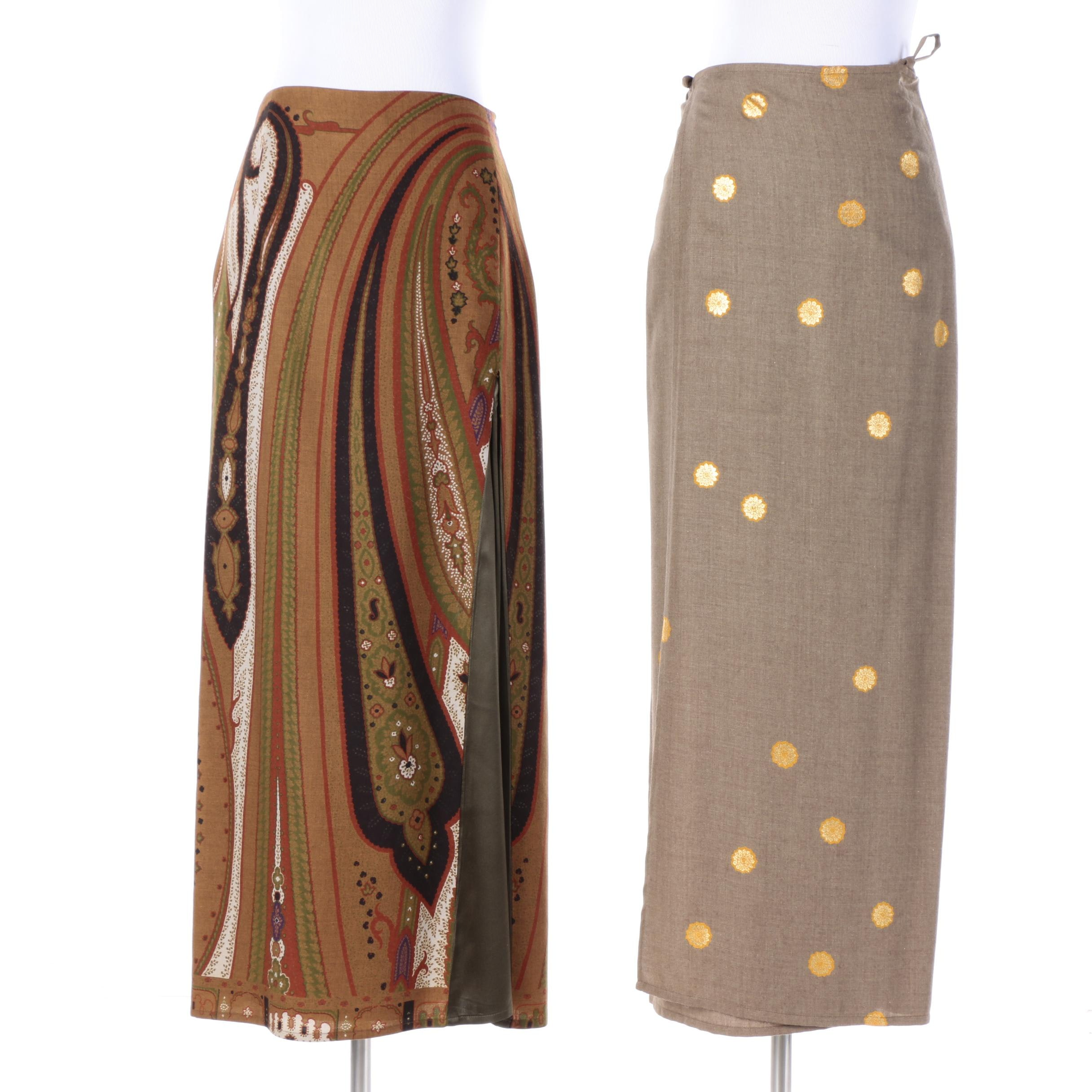 Etro and Dries Van Noten Wool and Silk Blend Skirts