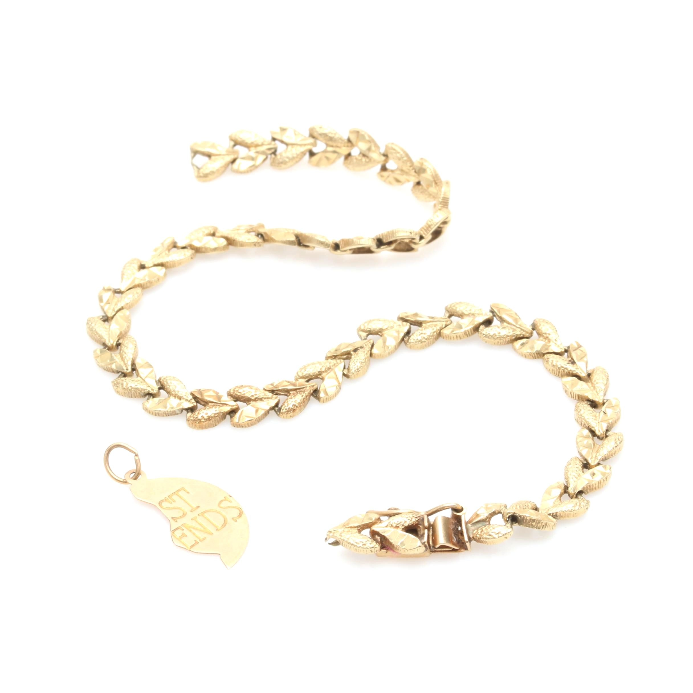 14K Scrap Gold Bracelet and Charm