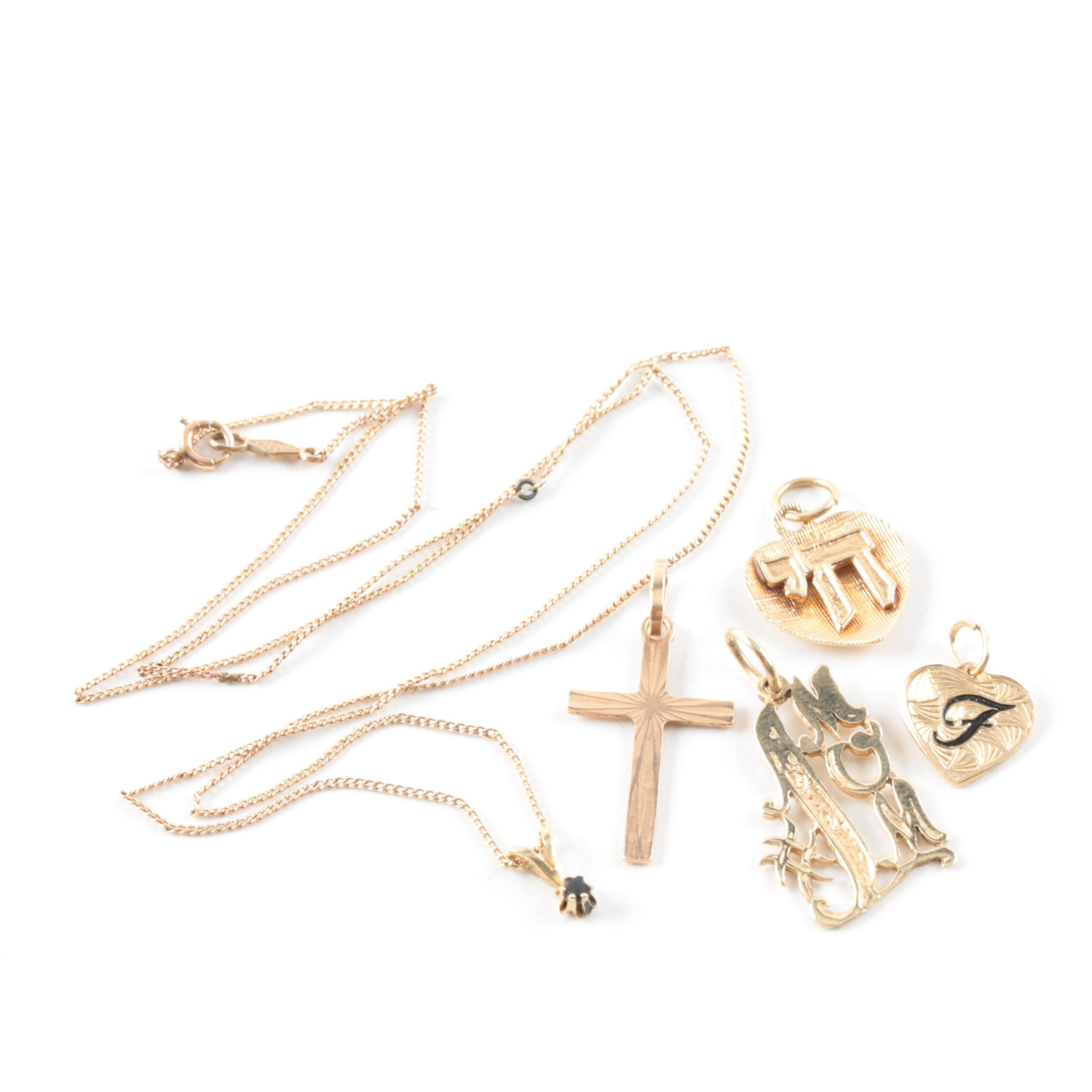 10K and 14K Yellow Gold Pendant Necklace and Charms Including Resin