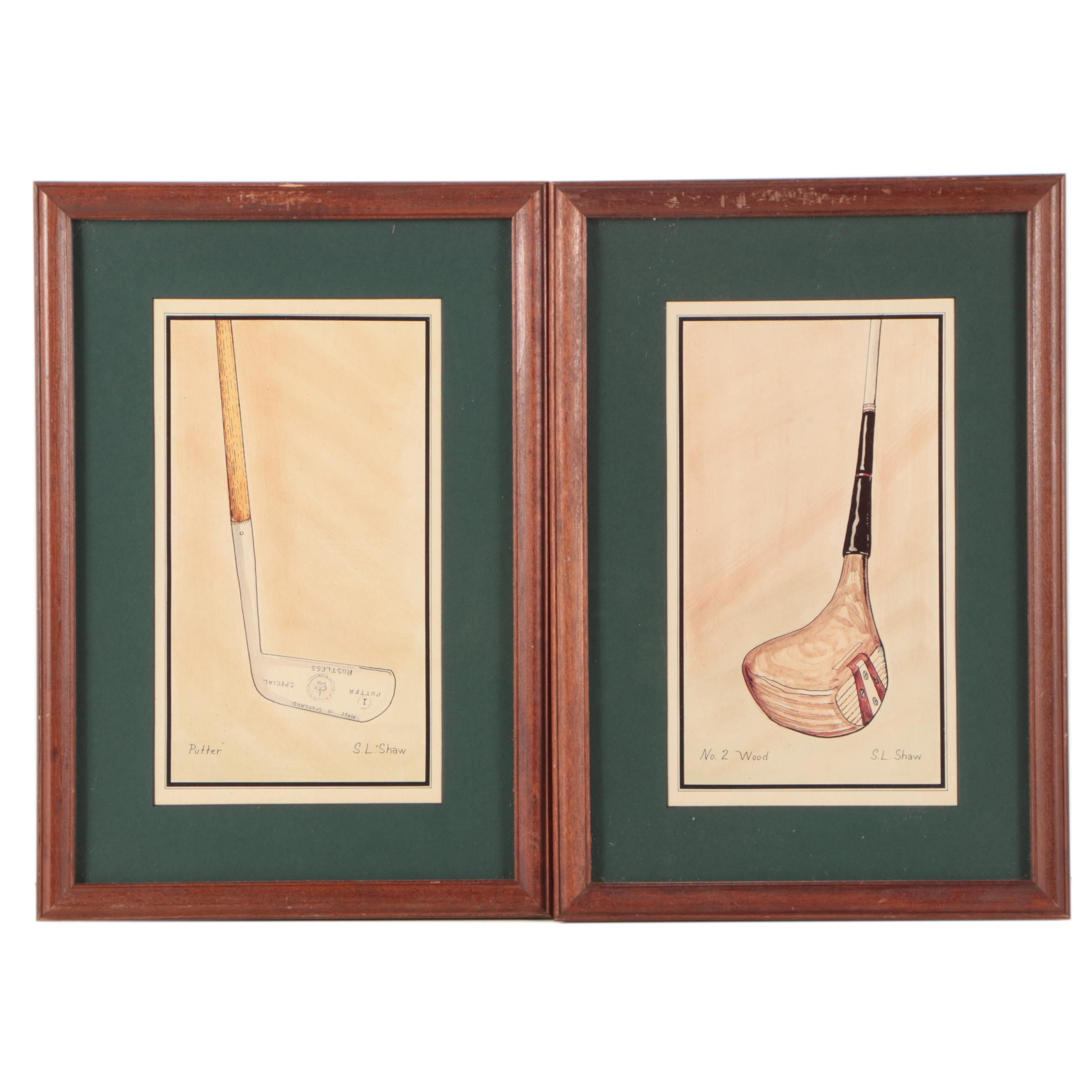 """Offset Lithographic Golf Prints After S.L. Shaw """"Putter"""" and """"No. 2 Wood"""""""