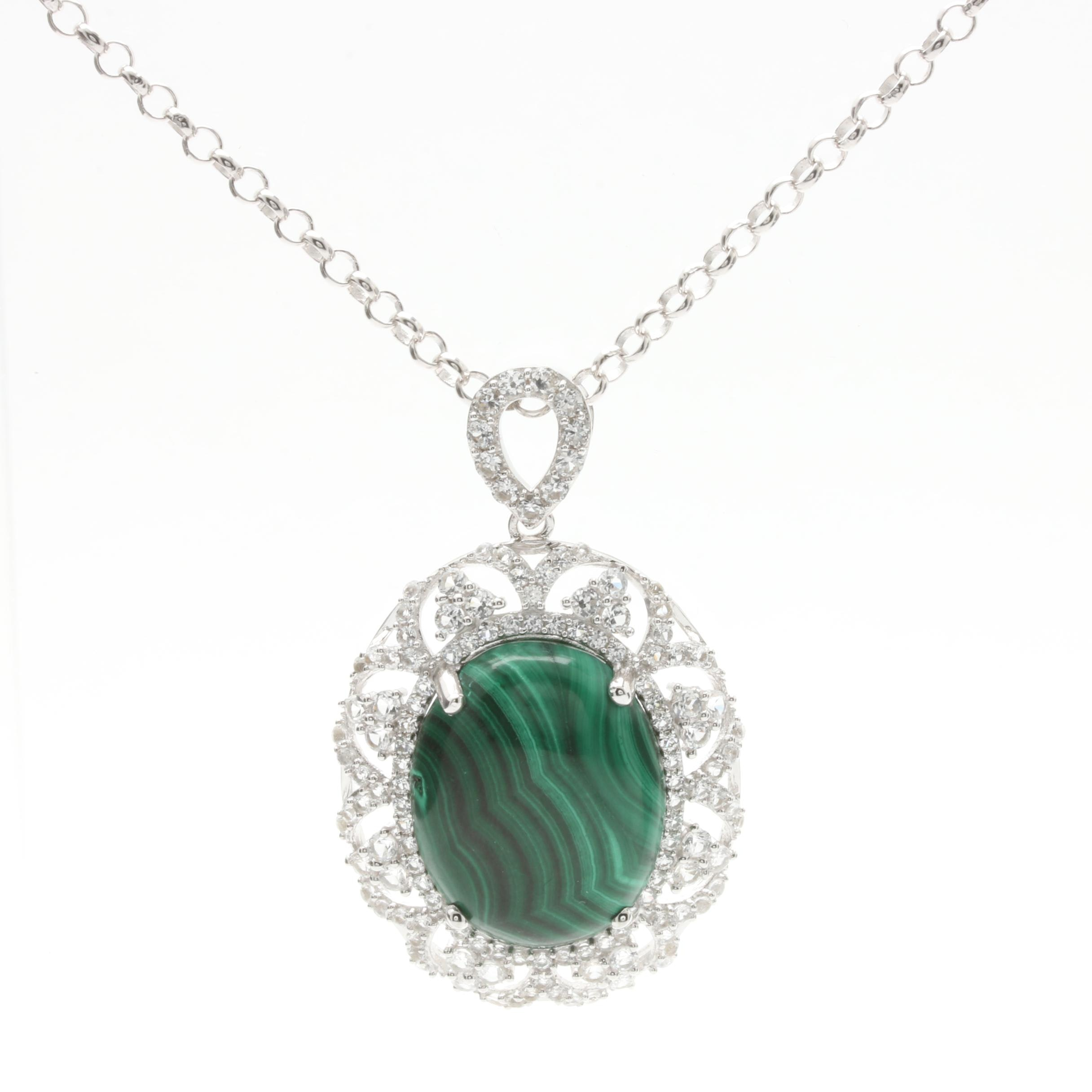 Sterling Silver Malachite and Synthetic White Sapphire Necklace