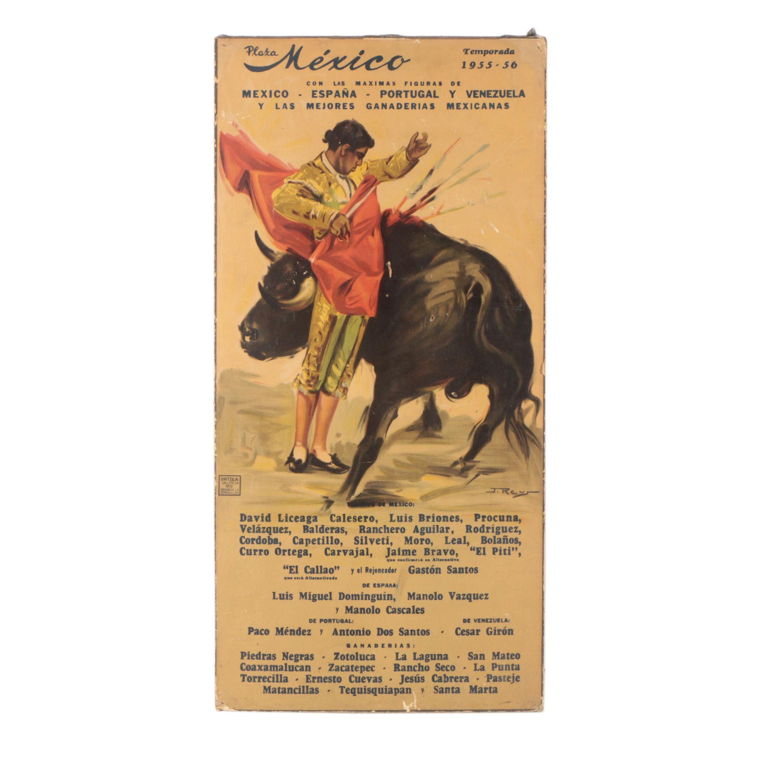 1955 Plaza México Bullfight Lithograph Poster After J. Reus