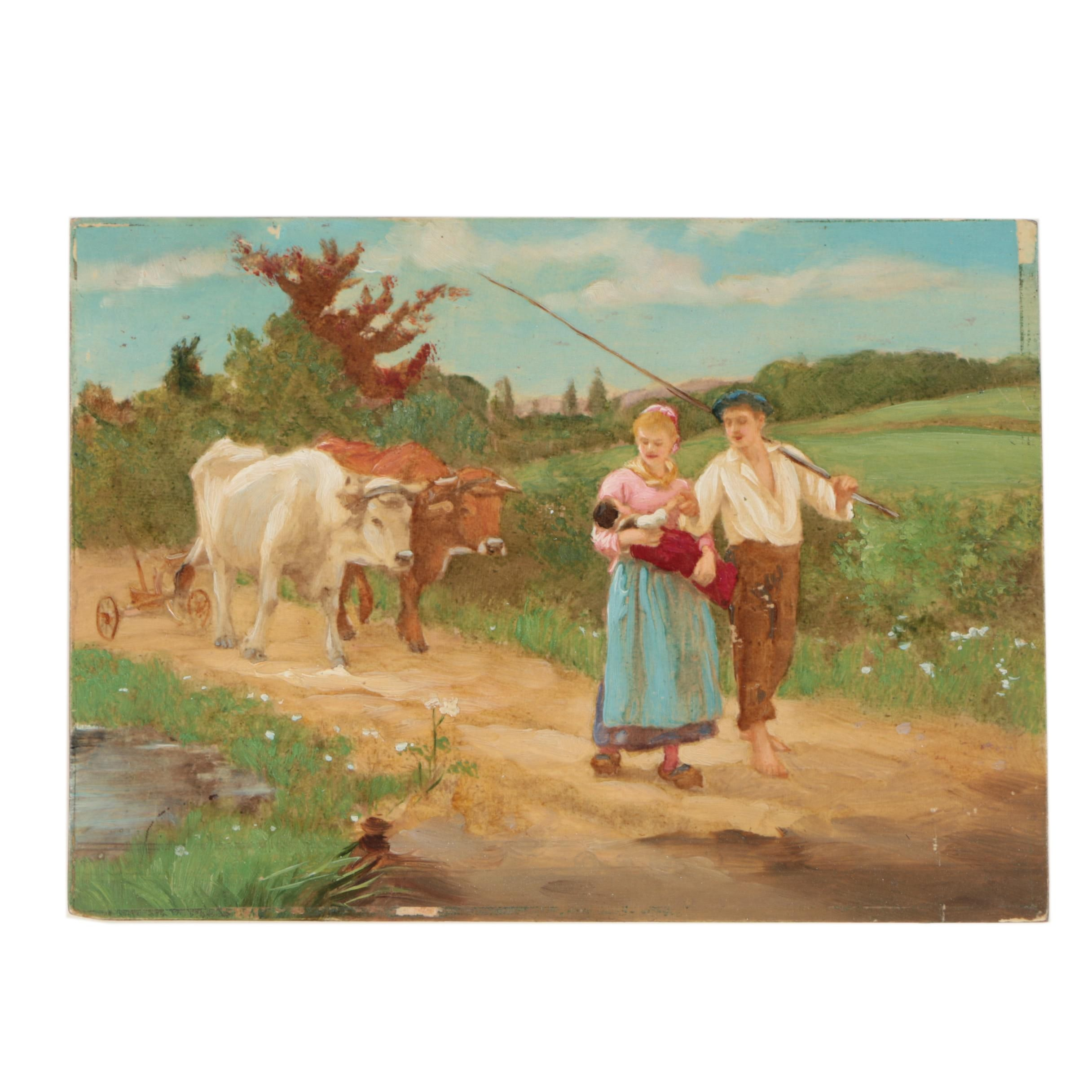 Early-to-Mid-Century Central European Landscape Oil on Wood