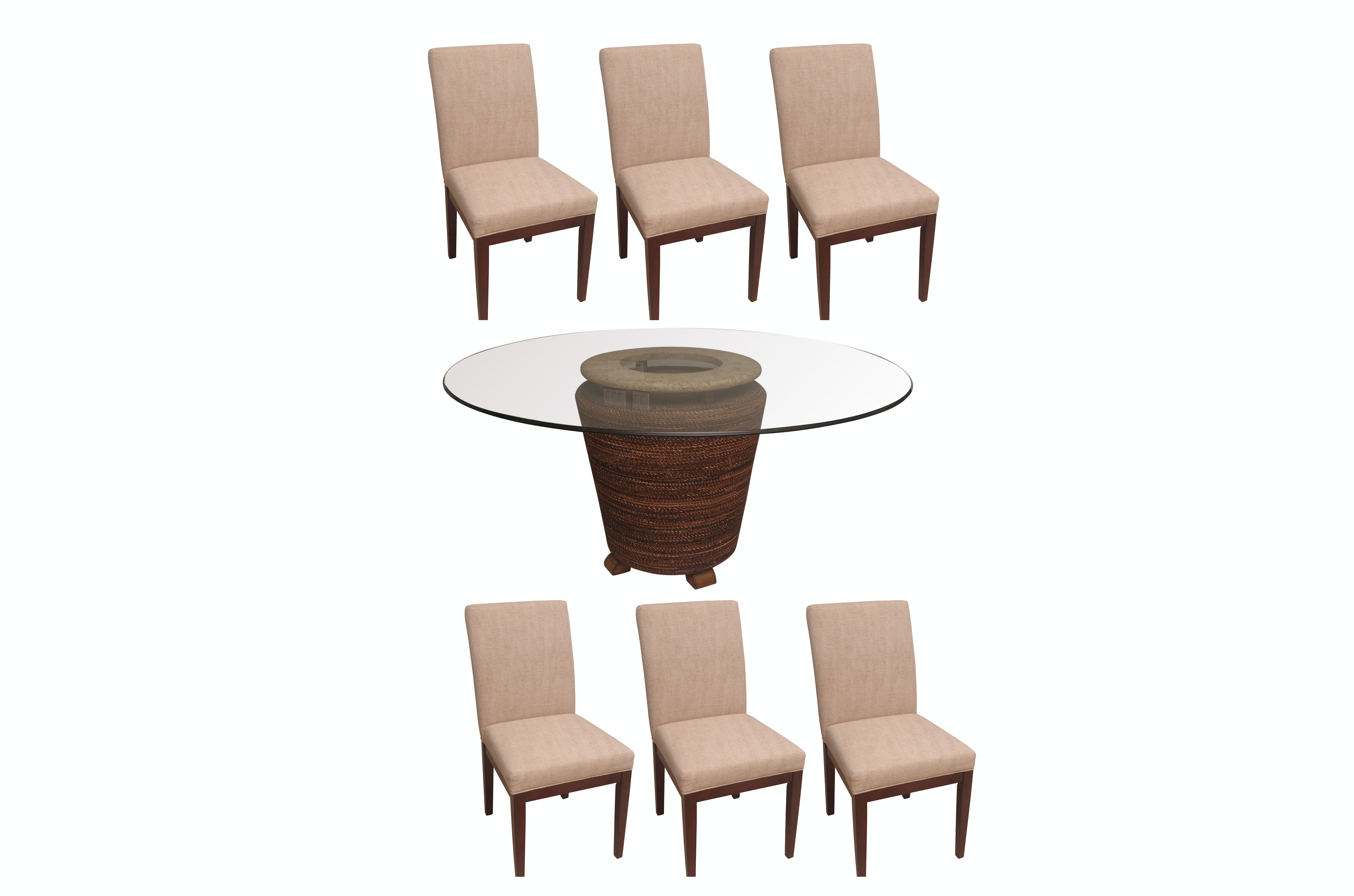 Glass Top Pedestal Dining Table with Chairs