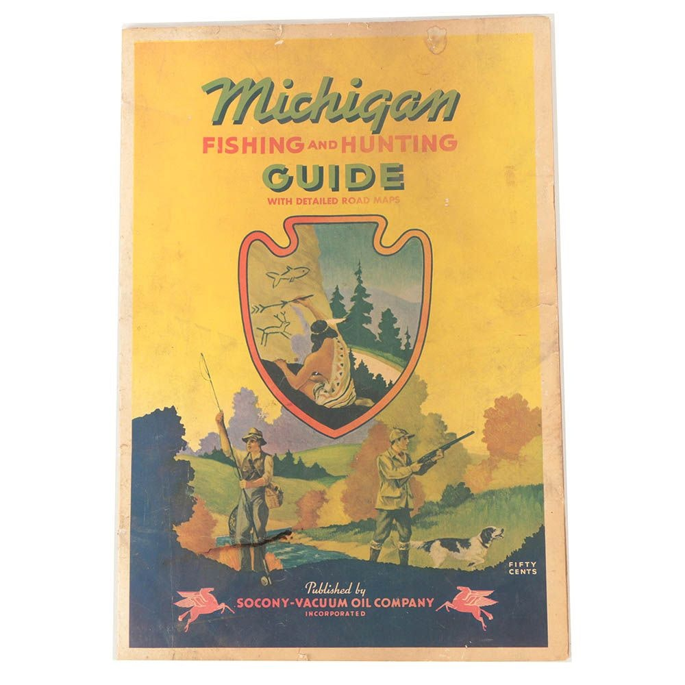 """Offset Lithographic Vintage 1941""""Michigan Hunting and Fishing Guide"""""""