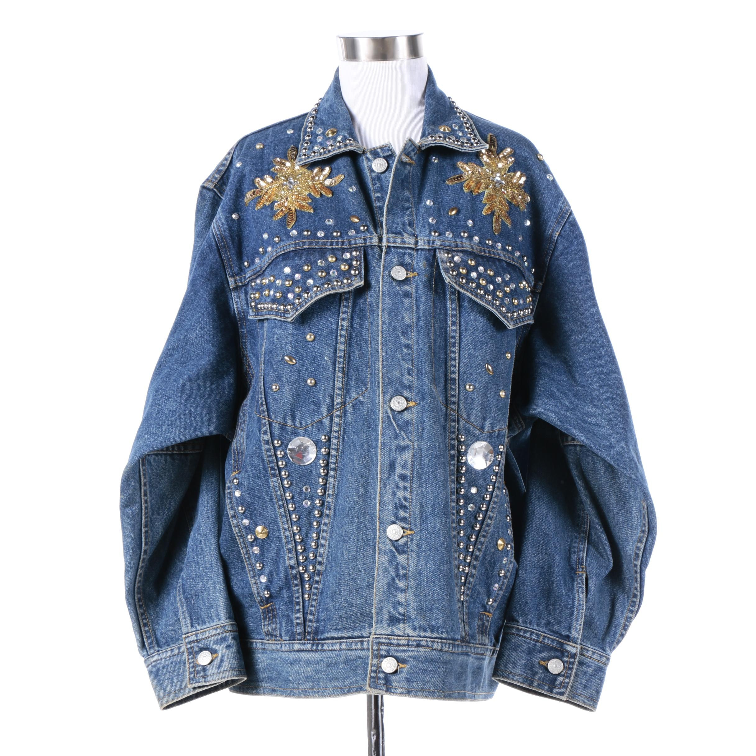 Freego Studded Denim Jean Jacket with Sequin Appliques