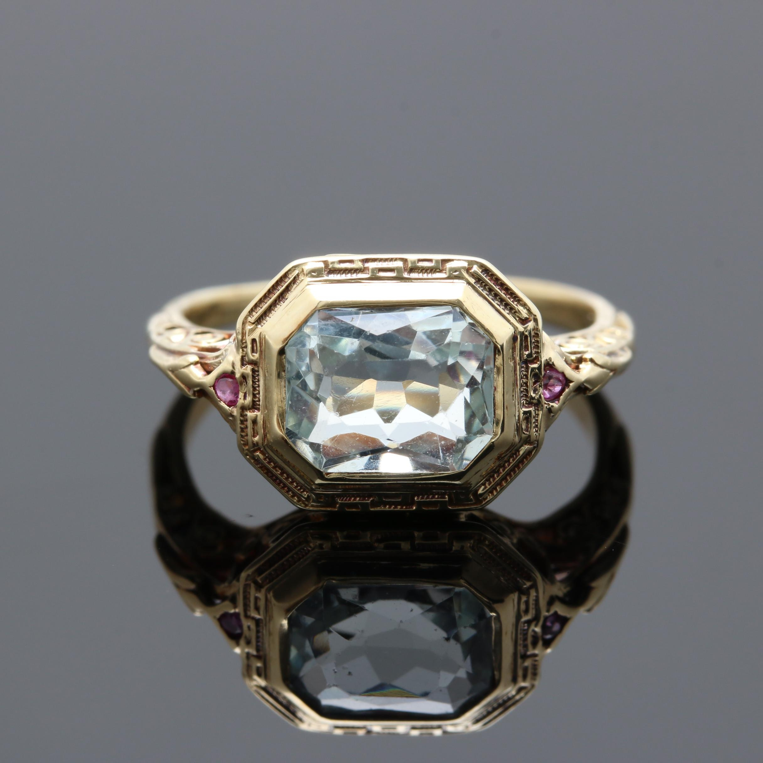 Vintage 14K Yellow Gold Aquamarine and Ruby Ring