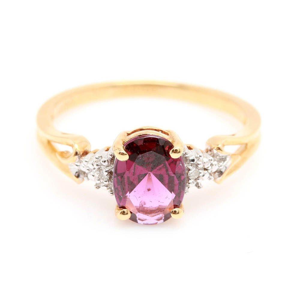 18K Yellow Gold Rhodolite Garnet and Diamond Ring