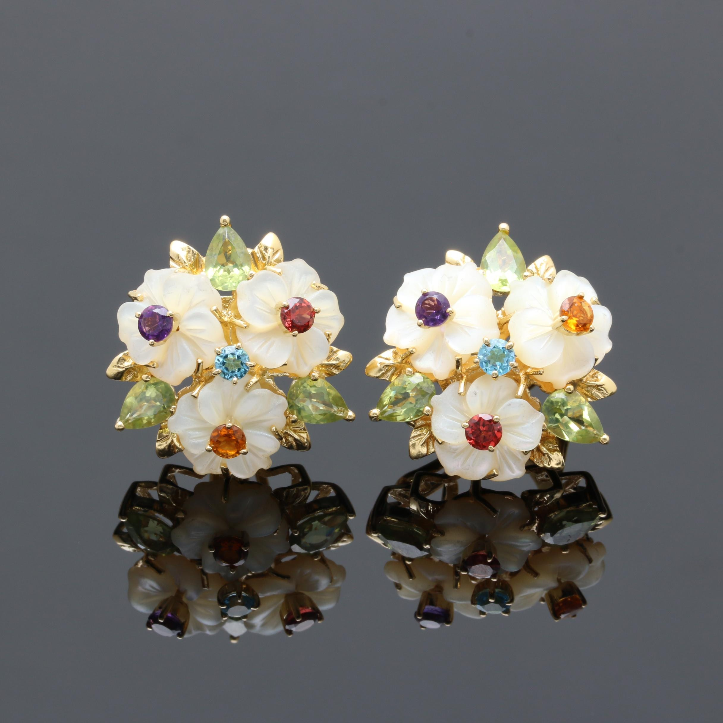 18K Yellow Gold Gemstone Floral Earrings
