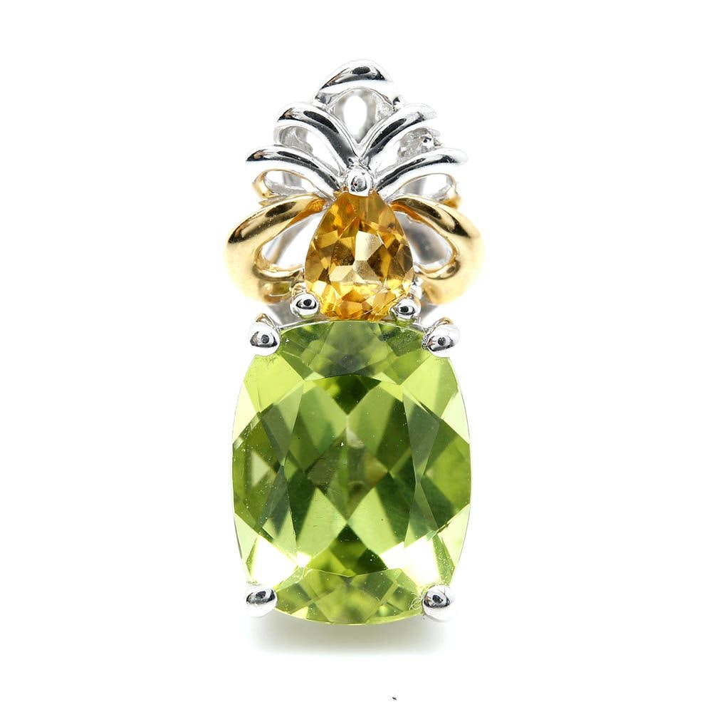 18K White Gold Peridot and Citrine Pendant with 18K Yellow Gold Accents