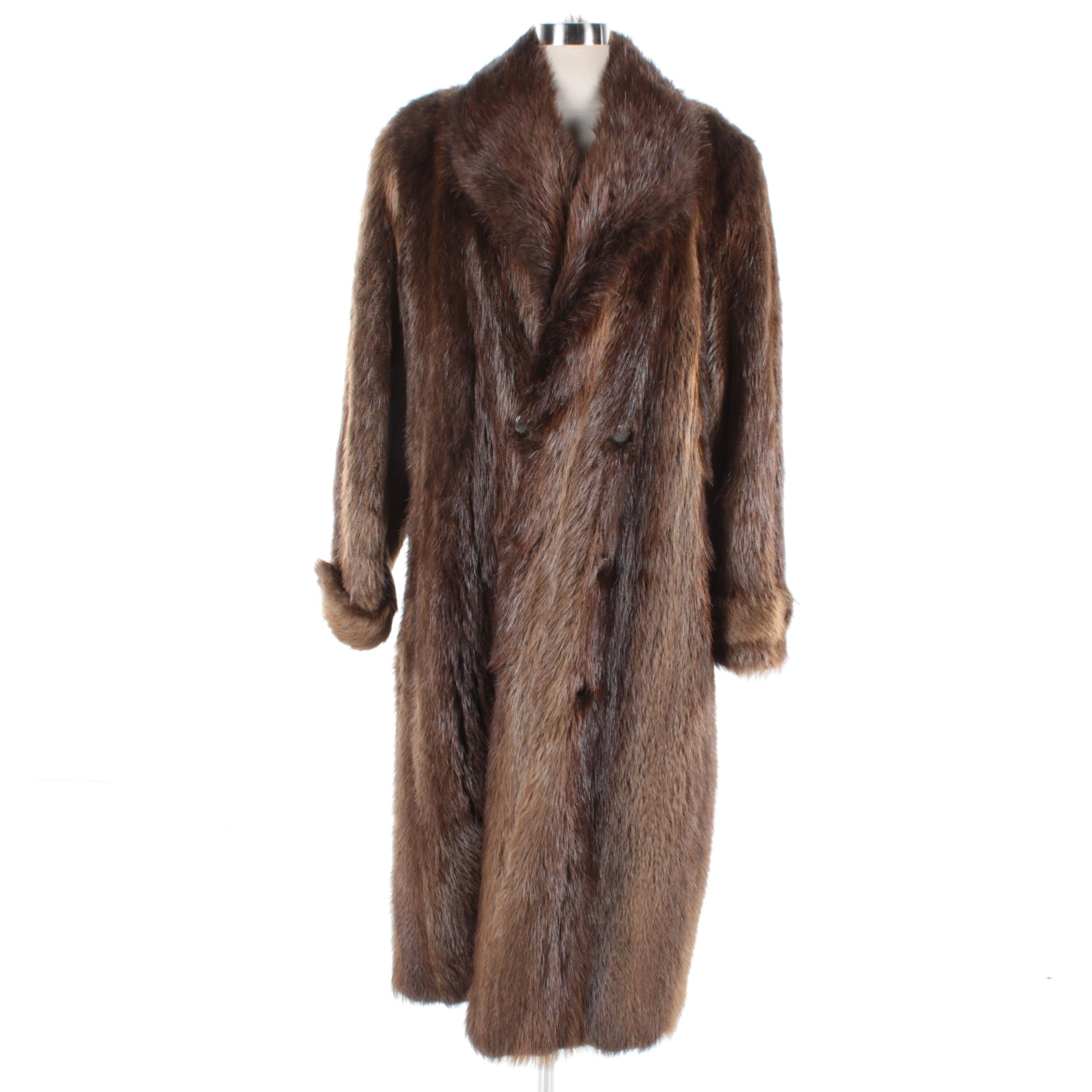 Men's Double-Breasted Beaver Fur Coat