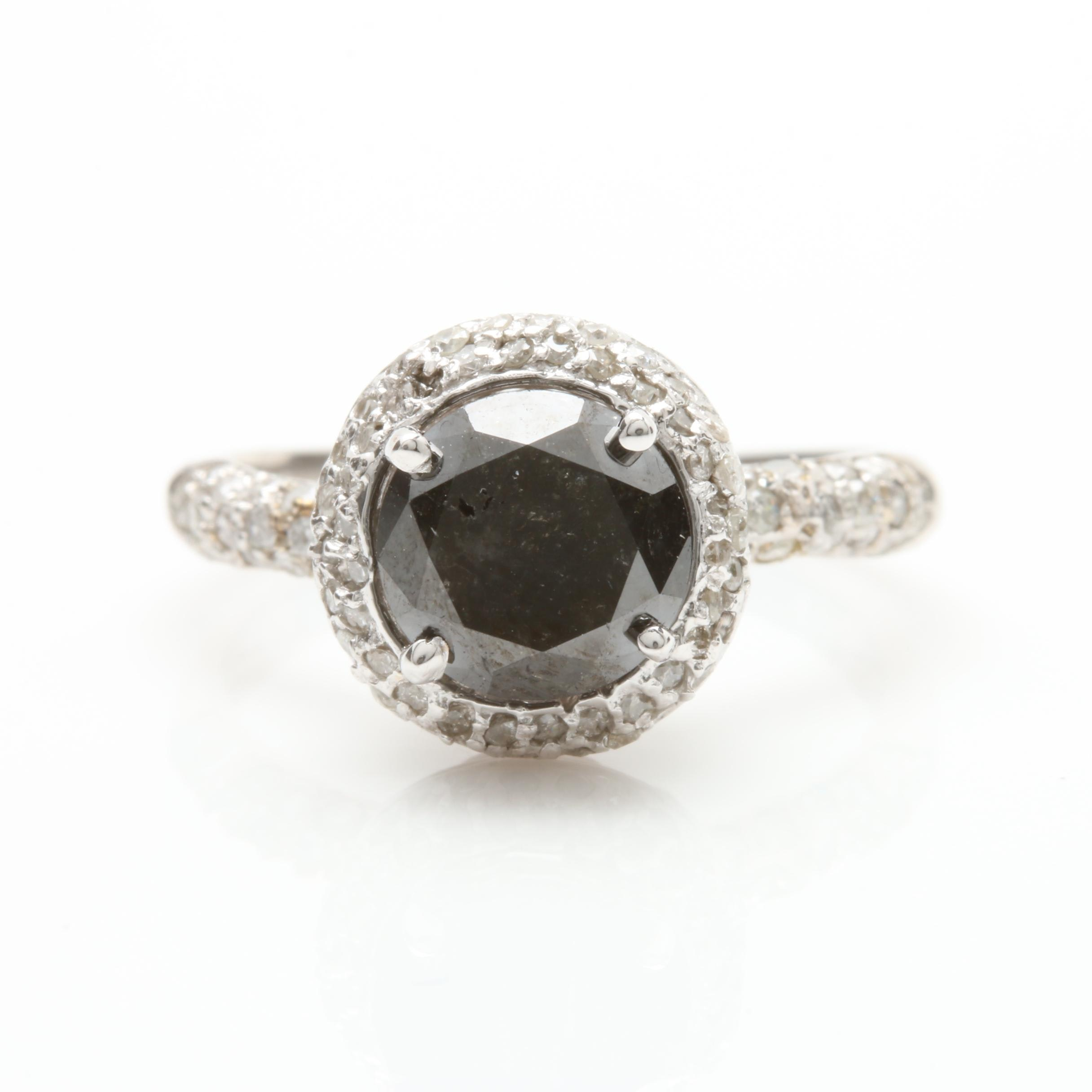 14K White Gold 2.22 CTW Black Diamond Ring with Diamond Accents
