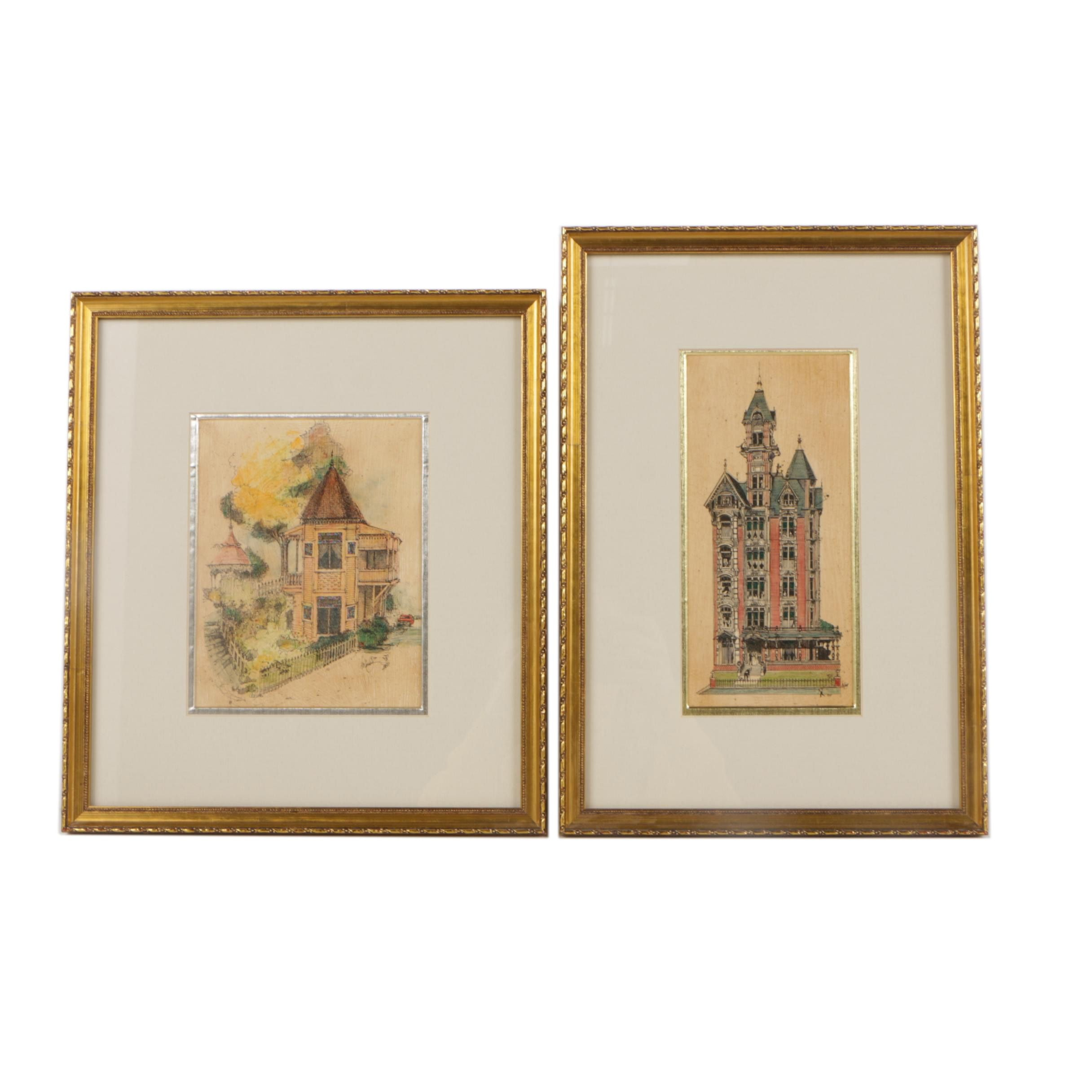 1980s Embellished Lithographs After Holloway of Victorian Style Homes