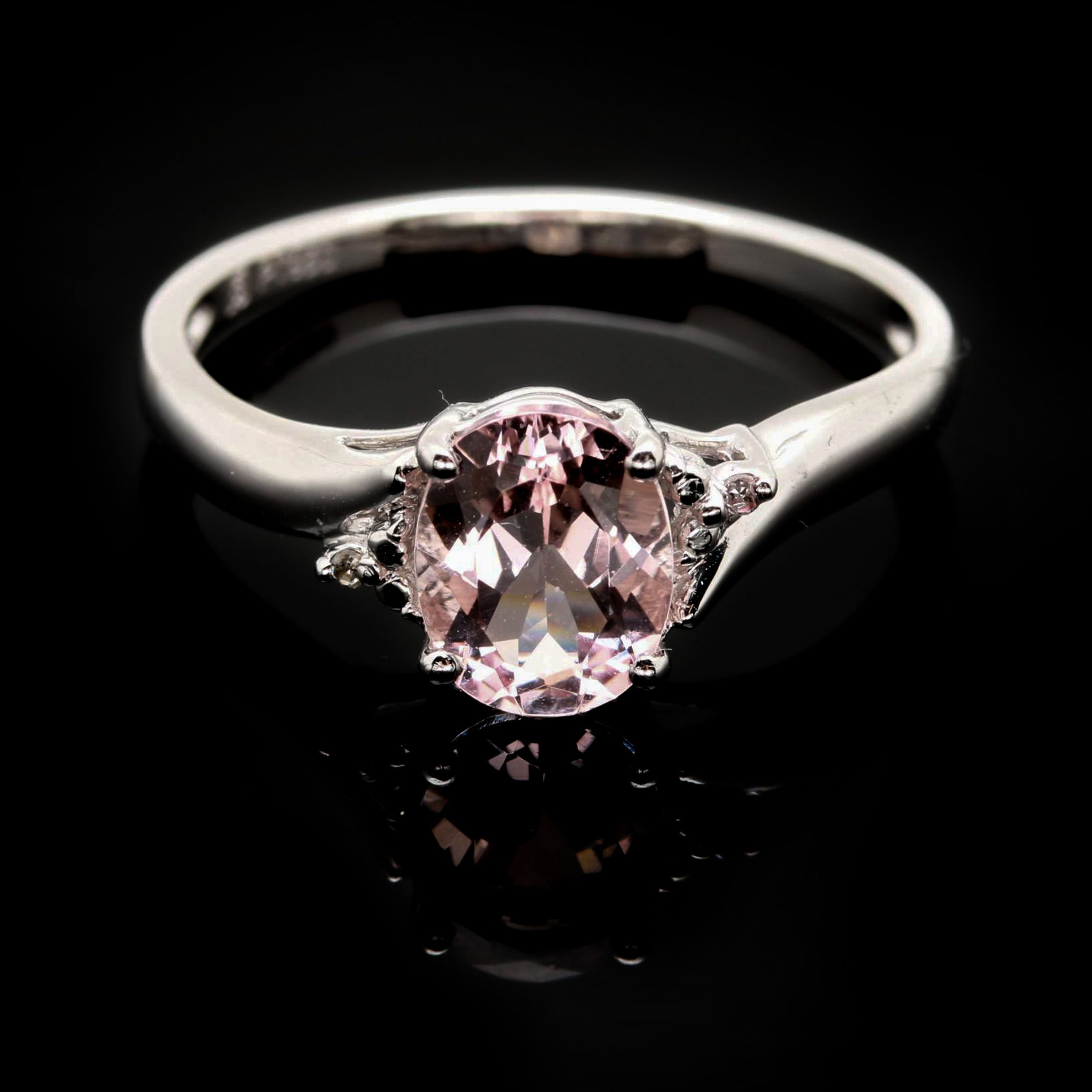 Platinum Morganite and Diamond Ring