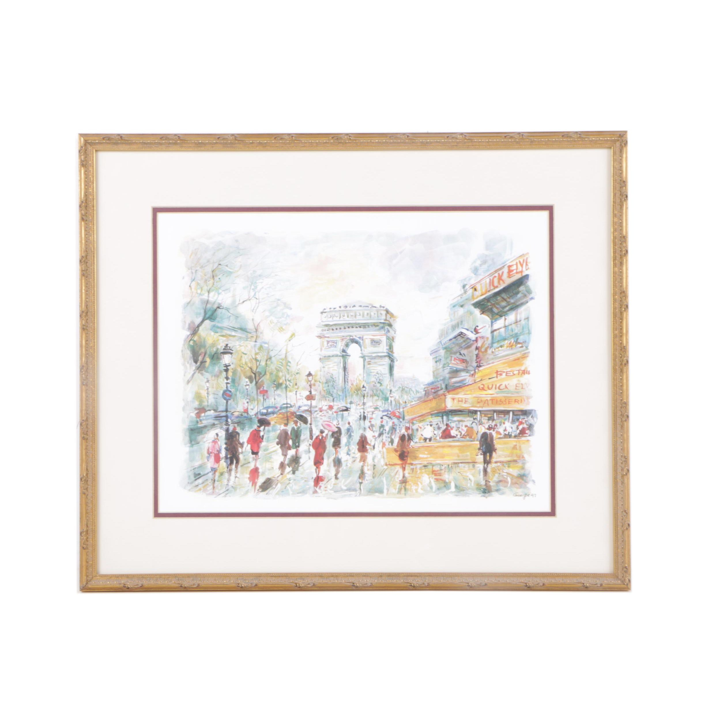 Signed and Framed Offset Lithograph of l'Arc de Triomphe