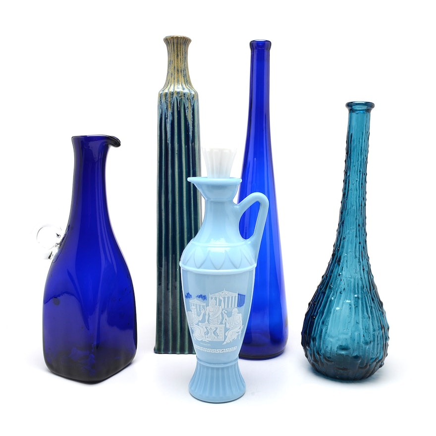 Collection Of Blue Vases Ebth